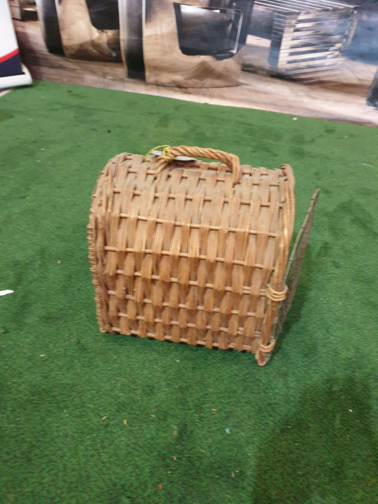 """A vintage wicker small pet carrier with paper tag stating """"Earl of Onslow"""" - Image 3 of 3"""