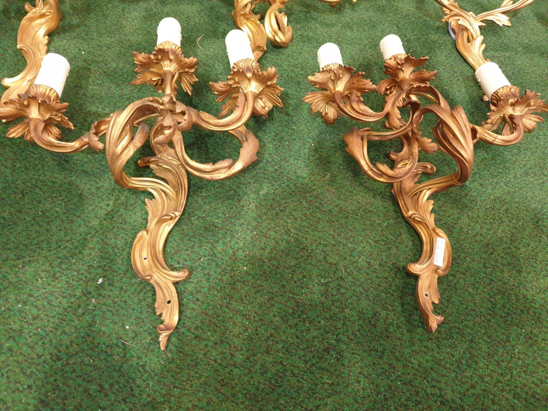 A set of 4 x French Dore Bronze triple arm branch Candelabra wall sconces in the Louis XV Style - Image 3 of 7