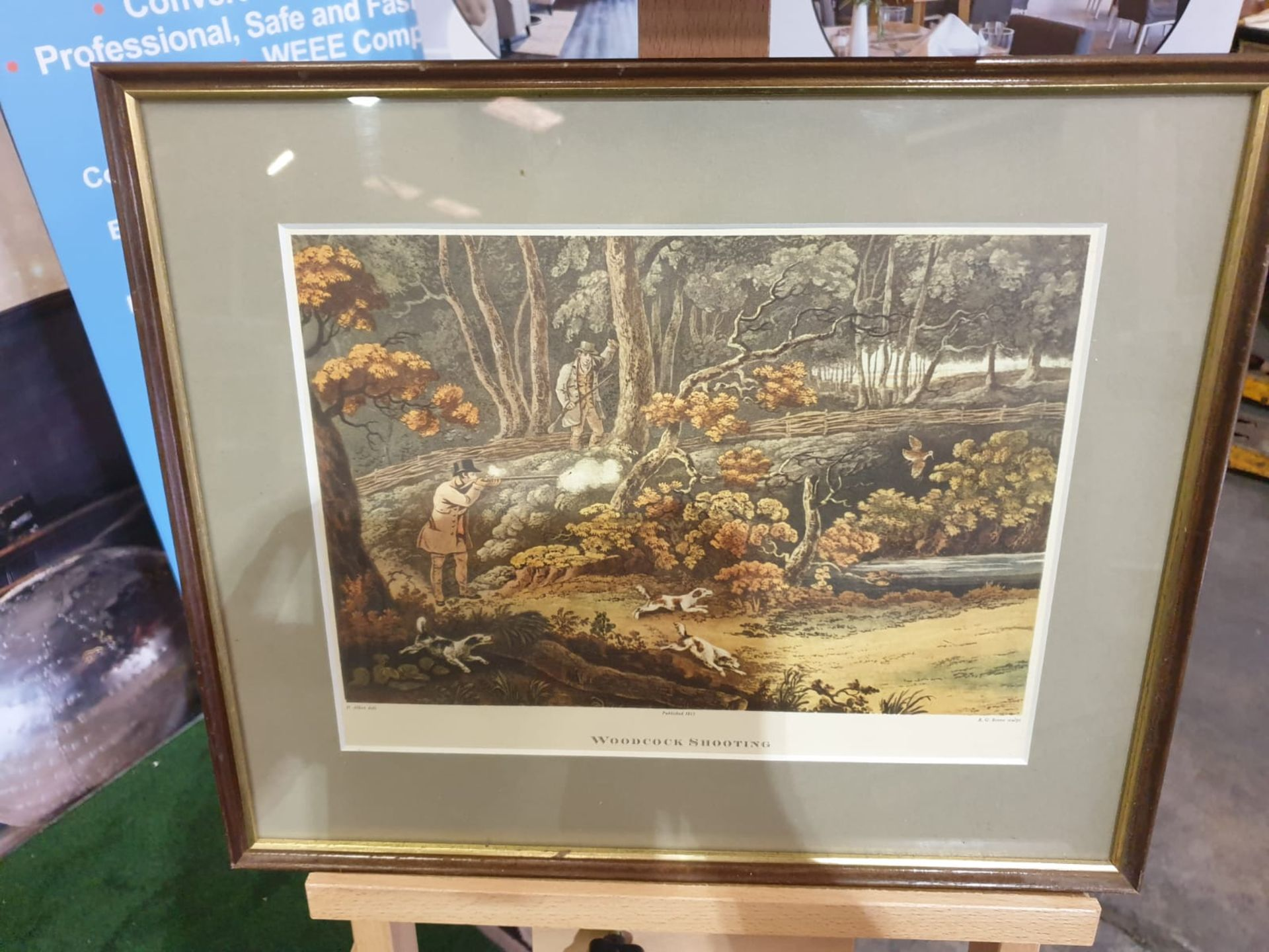 Framed coloured lithograph Woodstock Shooting R.G. Reeve, published 1806 44 x 37cm