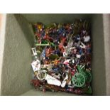 A small box of miniture soldiers mostly lead and appear to be Brittains