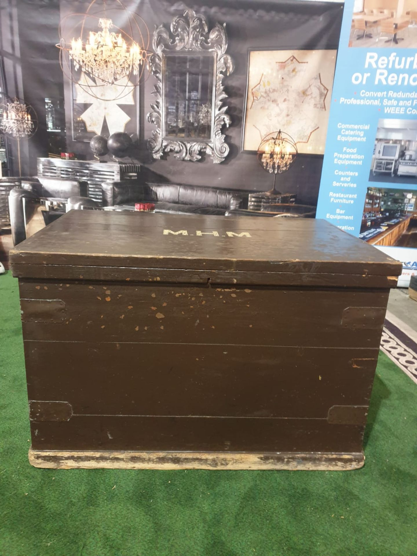 A late Victorian painted pine travel chest. The hinged cover with hasp and ownership title 'M. - Image 2 of 3