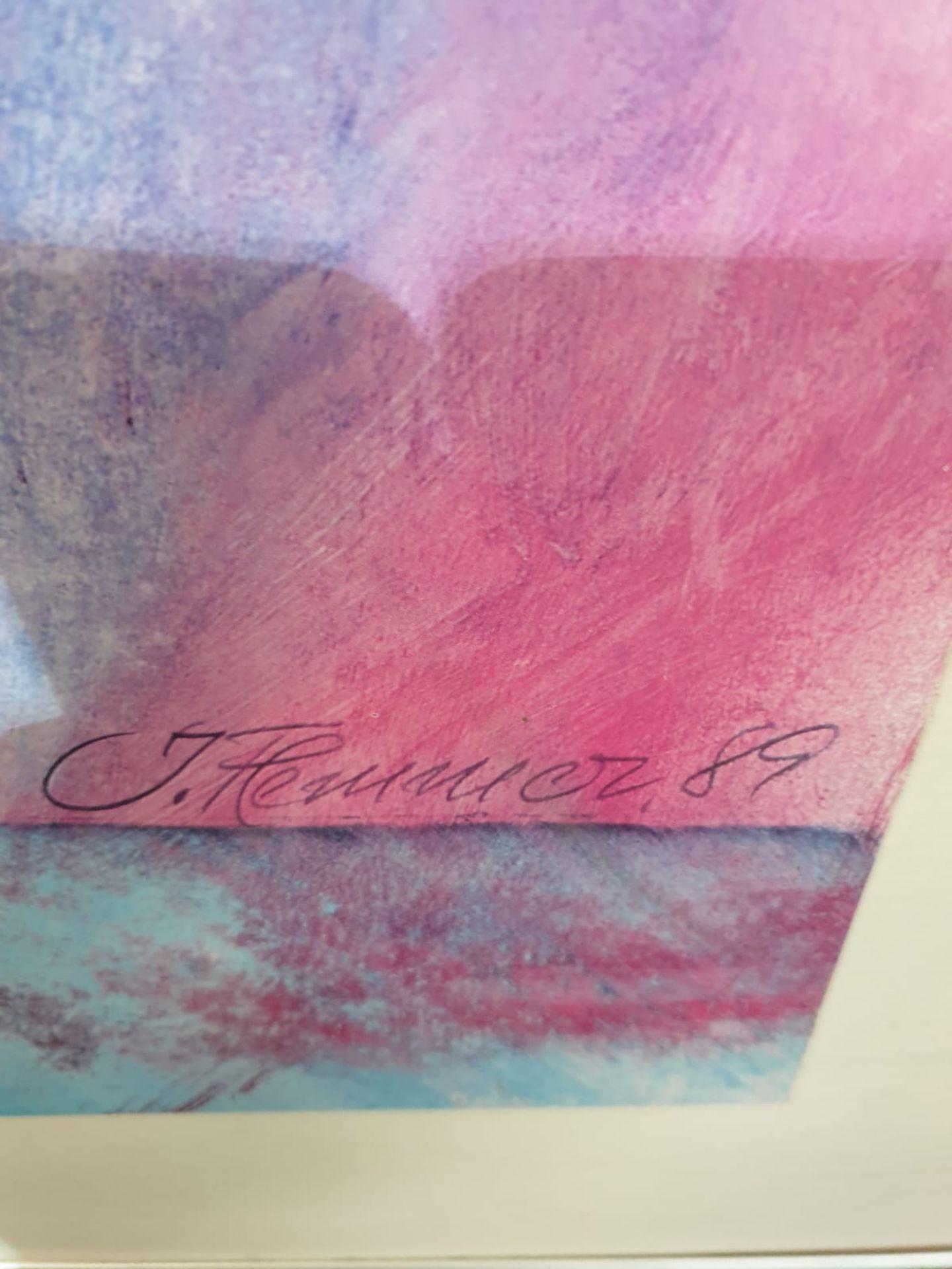 Abstract Blue/Purple wall art J. Hermasuez 89 91 x 111cm - Image 5 of 5