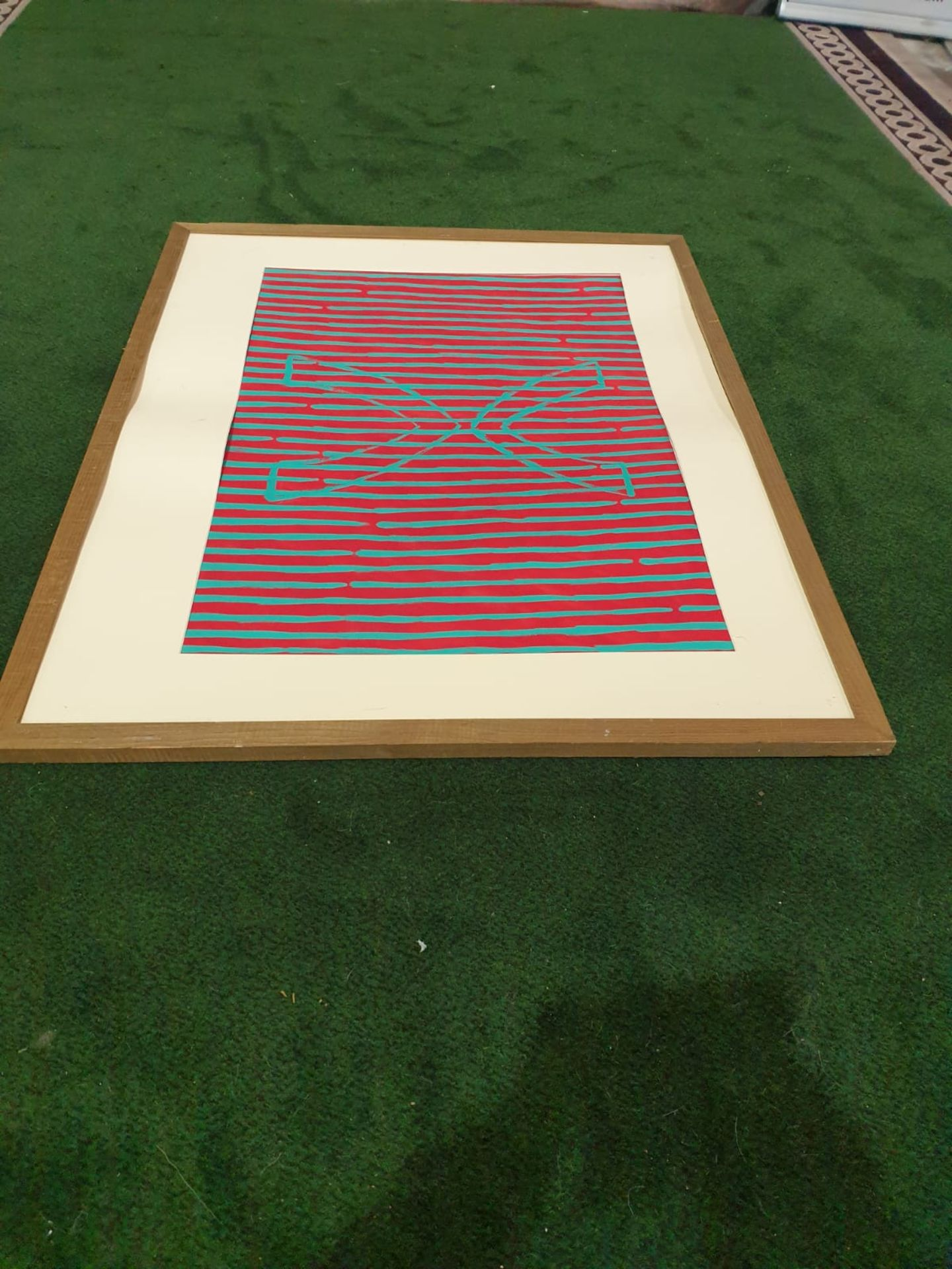 Framed without glass Modern art Red/Blue stripes. Vee and inverted Vee. Whiteford 1991 122 x 96cm - Image 2 of 3