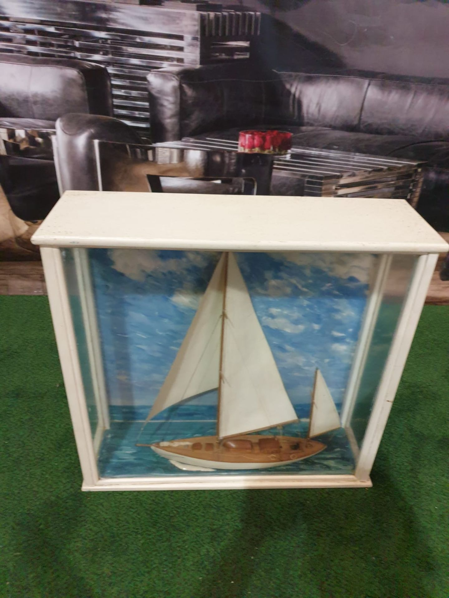 A scratch built model of a sailing yacht in a glass and painted wooden case. A scratch built model - Image 2 of 3
