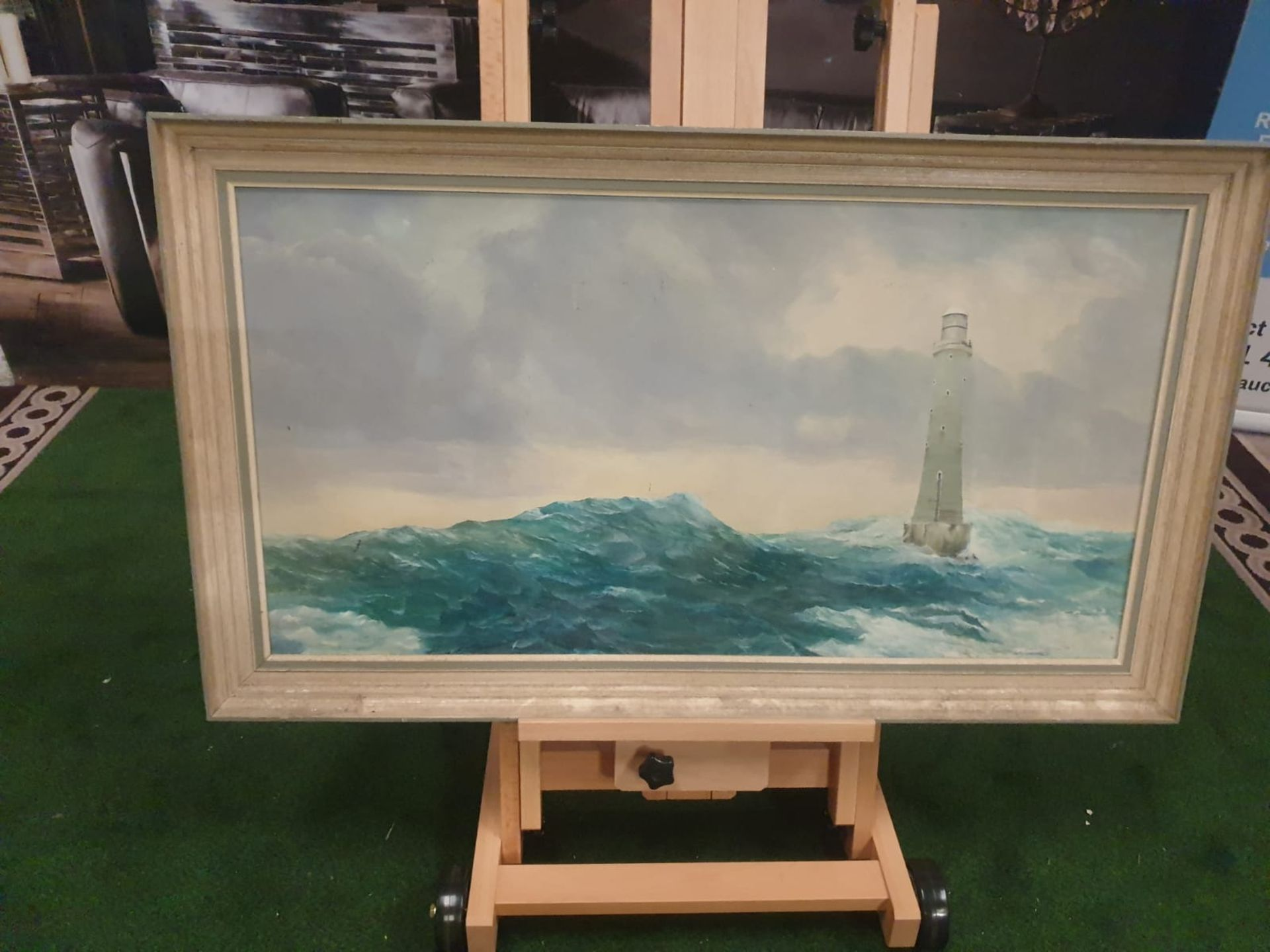 John Hamilton oil on canvas/board of Bishops Rock lighthouse near Tresco Isles of Scilly Oil on - Image 2 of 3
