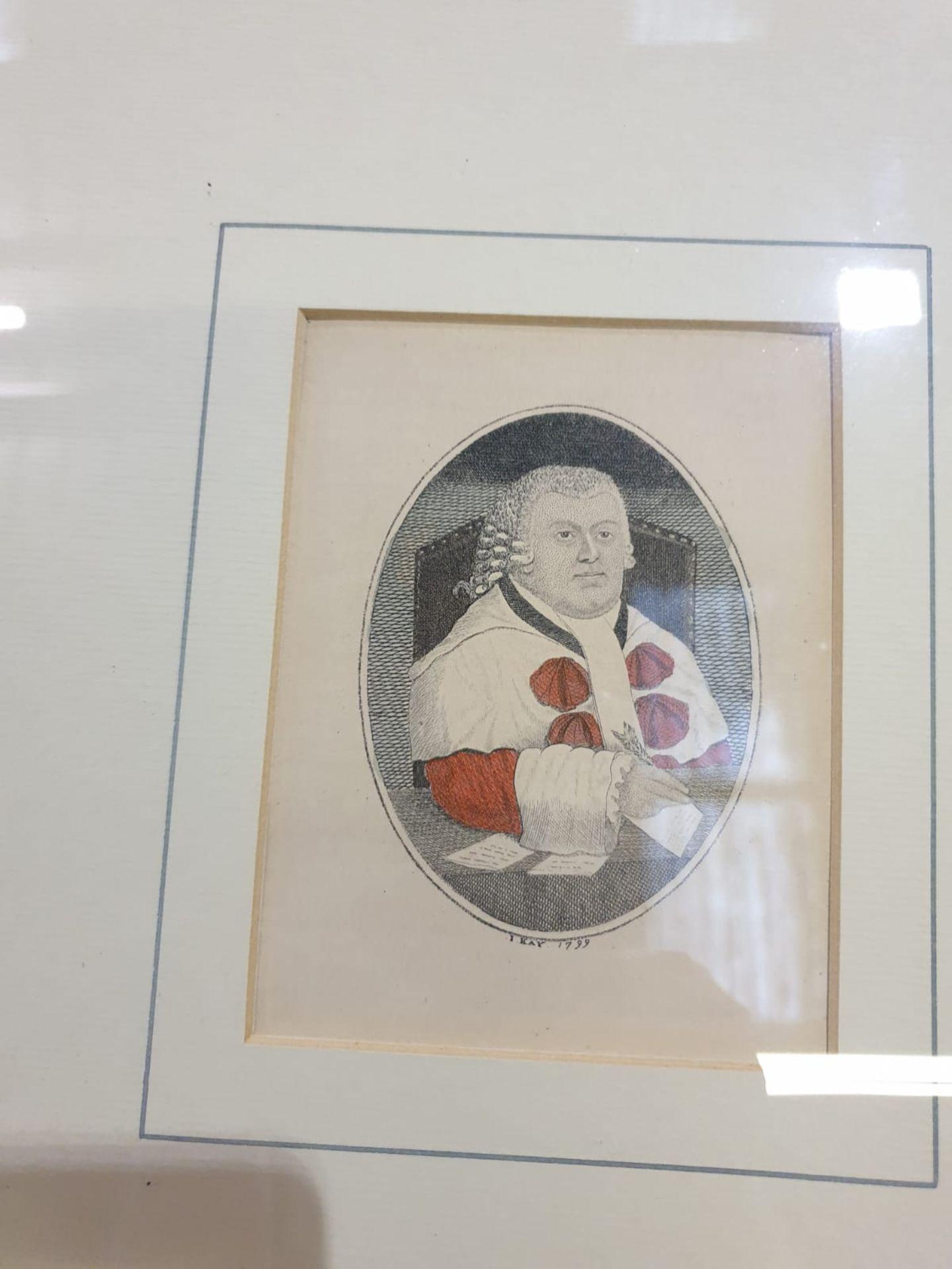 A set of 4 framed John Kay coloured prints of etchings Law gentlemen Lord Balmuto by John Kay, 1799, - Image 4 of 5