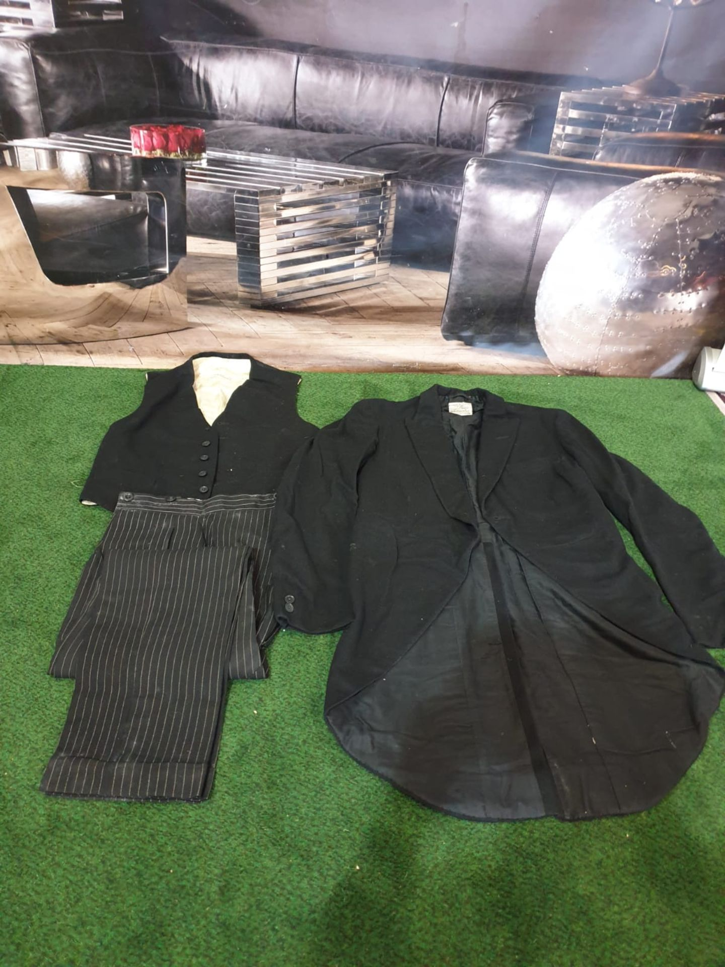 A Denman and Goddard Ltd 3 piece Eton suit consists of morning tailcoat, 2 x waistcoats and 2 x - Image 2 of 5