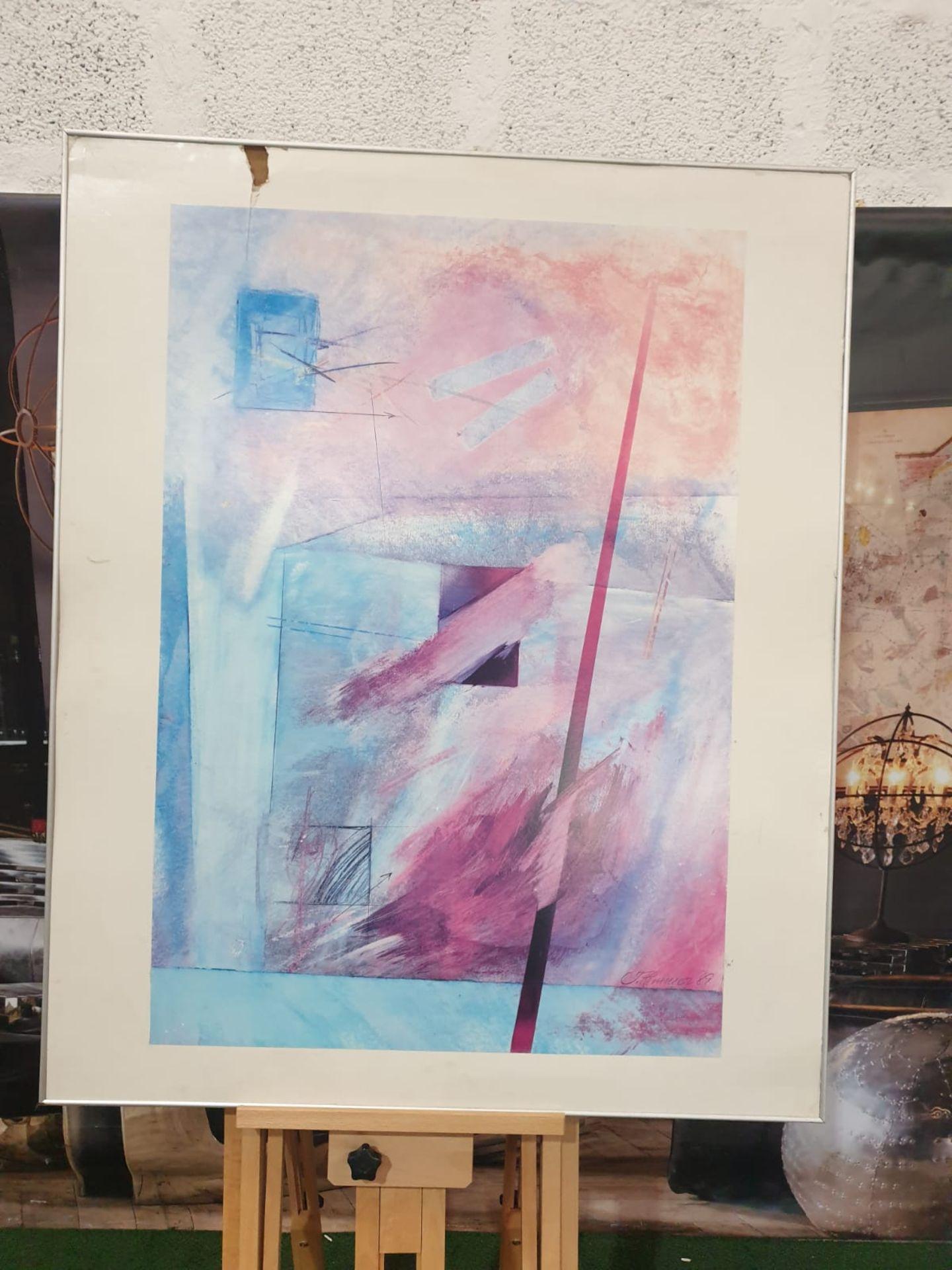 Abstract Blue/Purple wall art J. Hermasuez 89 91 x 111cm - Image 3 of 5