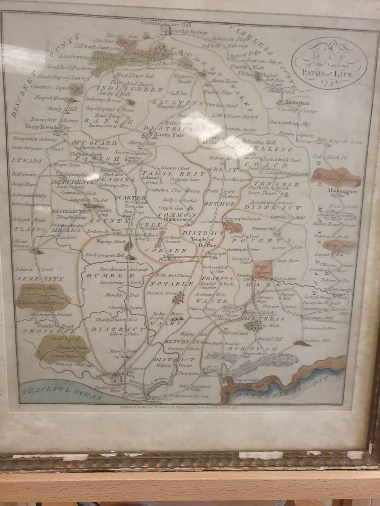Framed An American Quaker Map's the Paths of Life Fascinating pictorial allegorical map, - Image 2 of 5