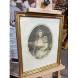 Framed coloured lithograph portrati woman with child Pupil of Bartologgle. Bronze frame 34 x 42cm
