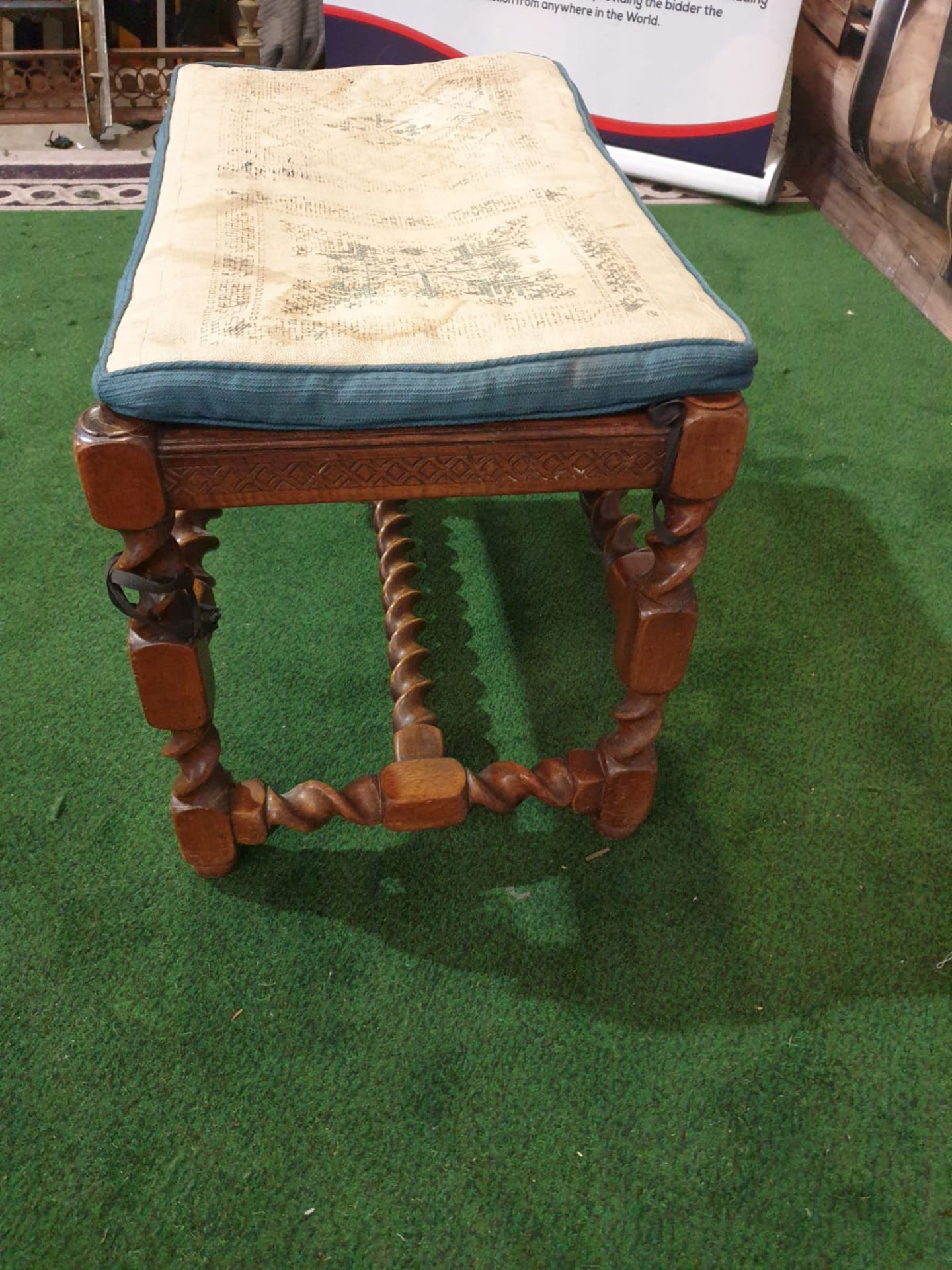 A walnut dressing stool. The oblong cushioned seat over a diaper-incised rail on twist-turned and - Image 3 of 6