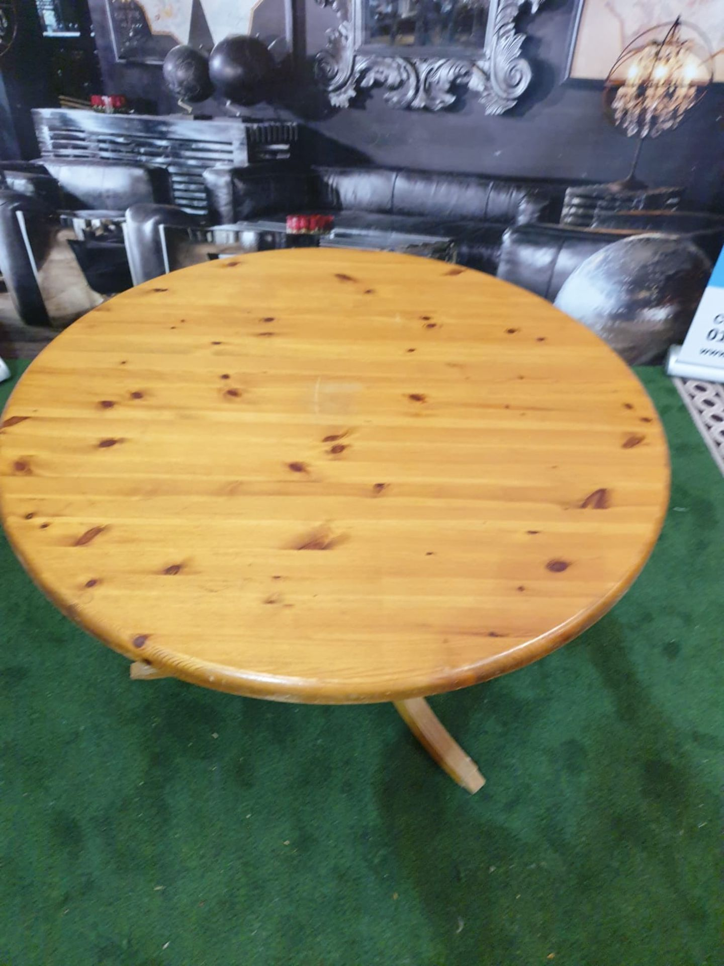 Round Dining Table in Repurposed Pine with Antique Pine Pedestal The table's pedestal, which is - Image 2 of 3