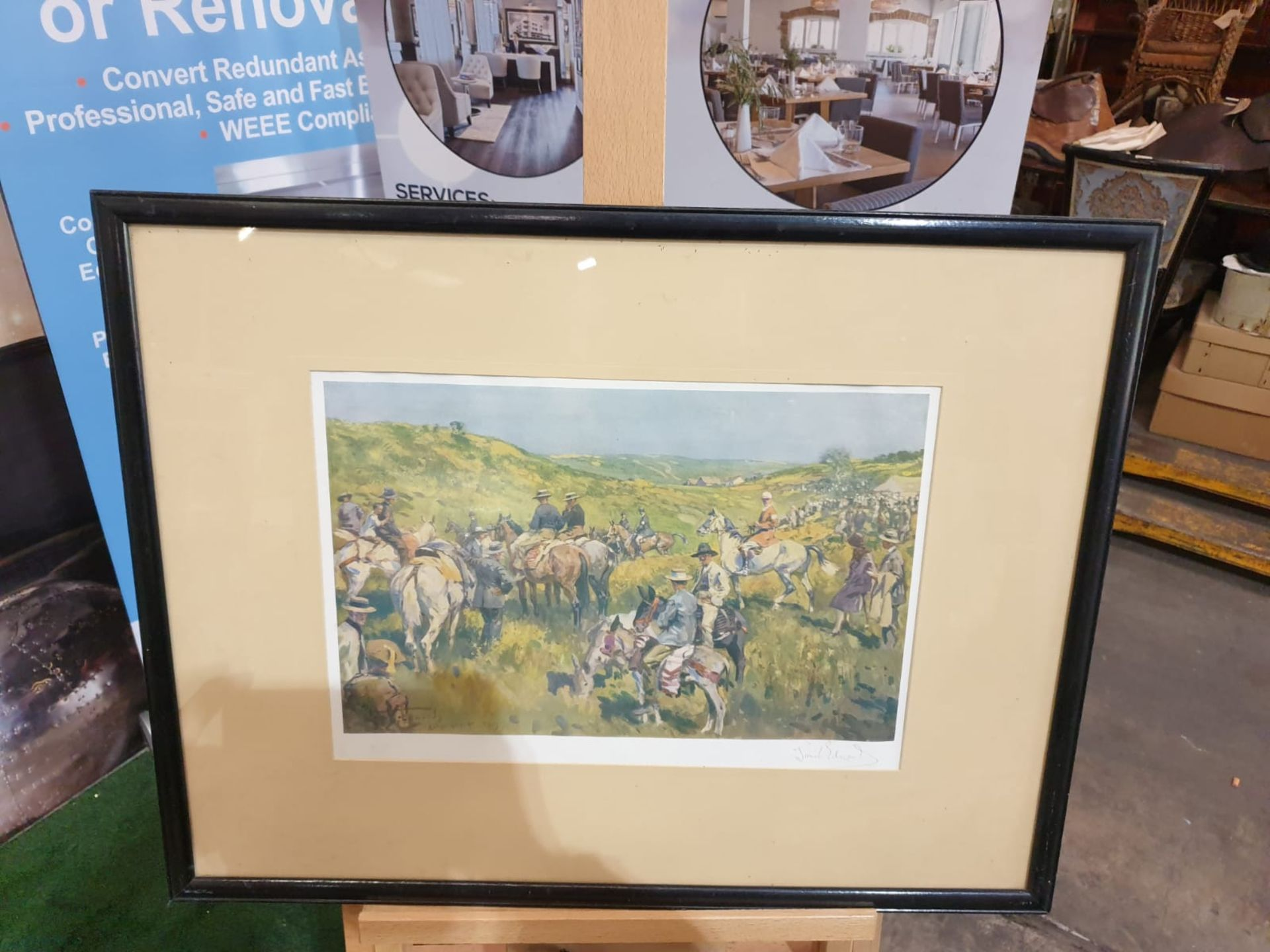 Framed signed print The Royal Calpe Hunt Point-to-Point Meeting - On the right Col. Price-Davis