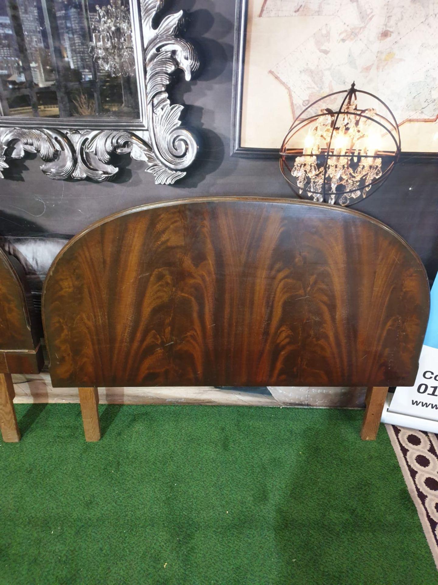 A burr Mahogany headboard & footboard for a single bed - Image 3 of 3