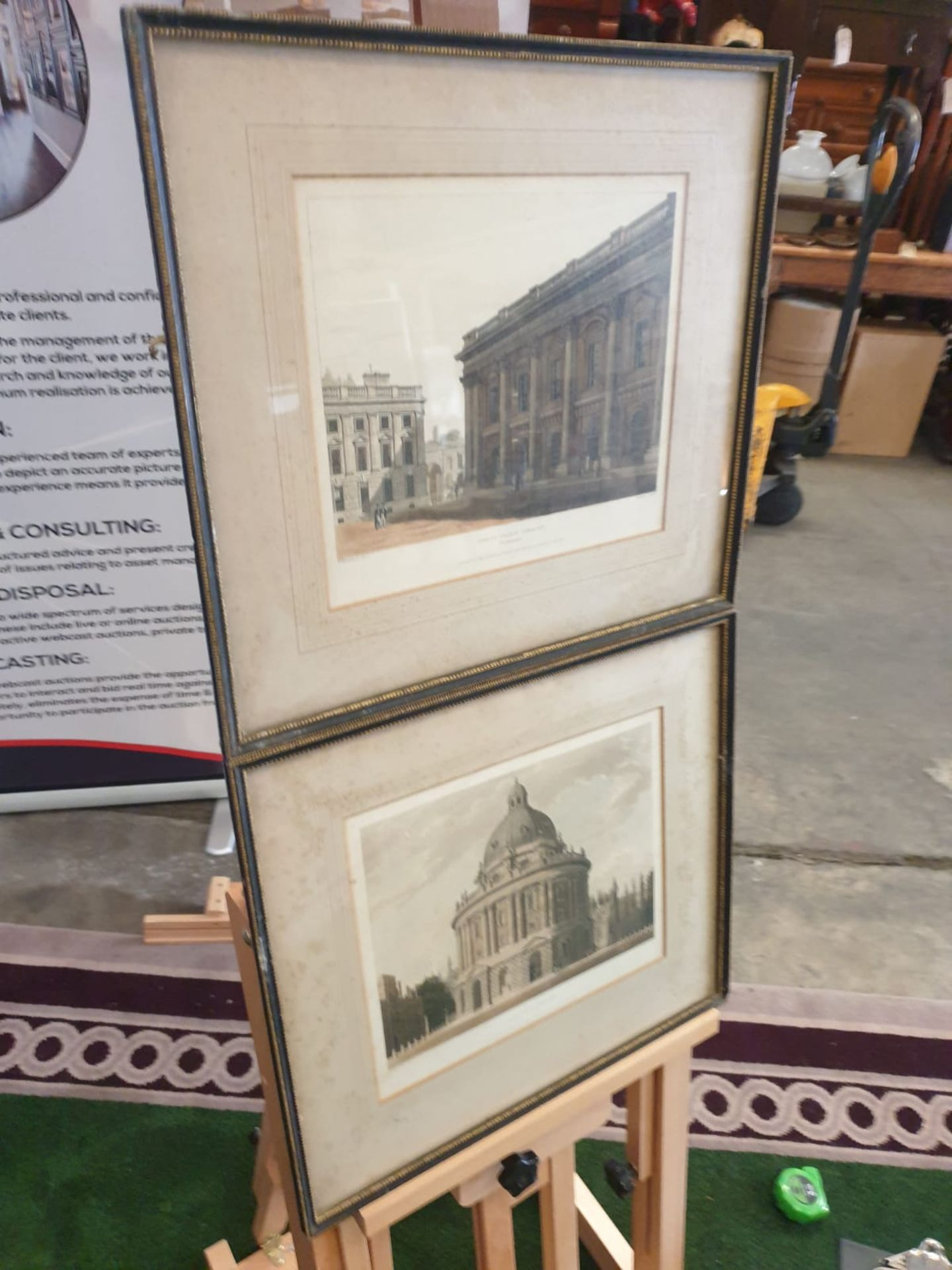A set of 2 framed Coloured prints Radcliffe Library Oxford and Christchurch library Oxford F C Lewis - Image 3 of 5