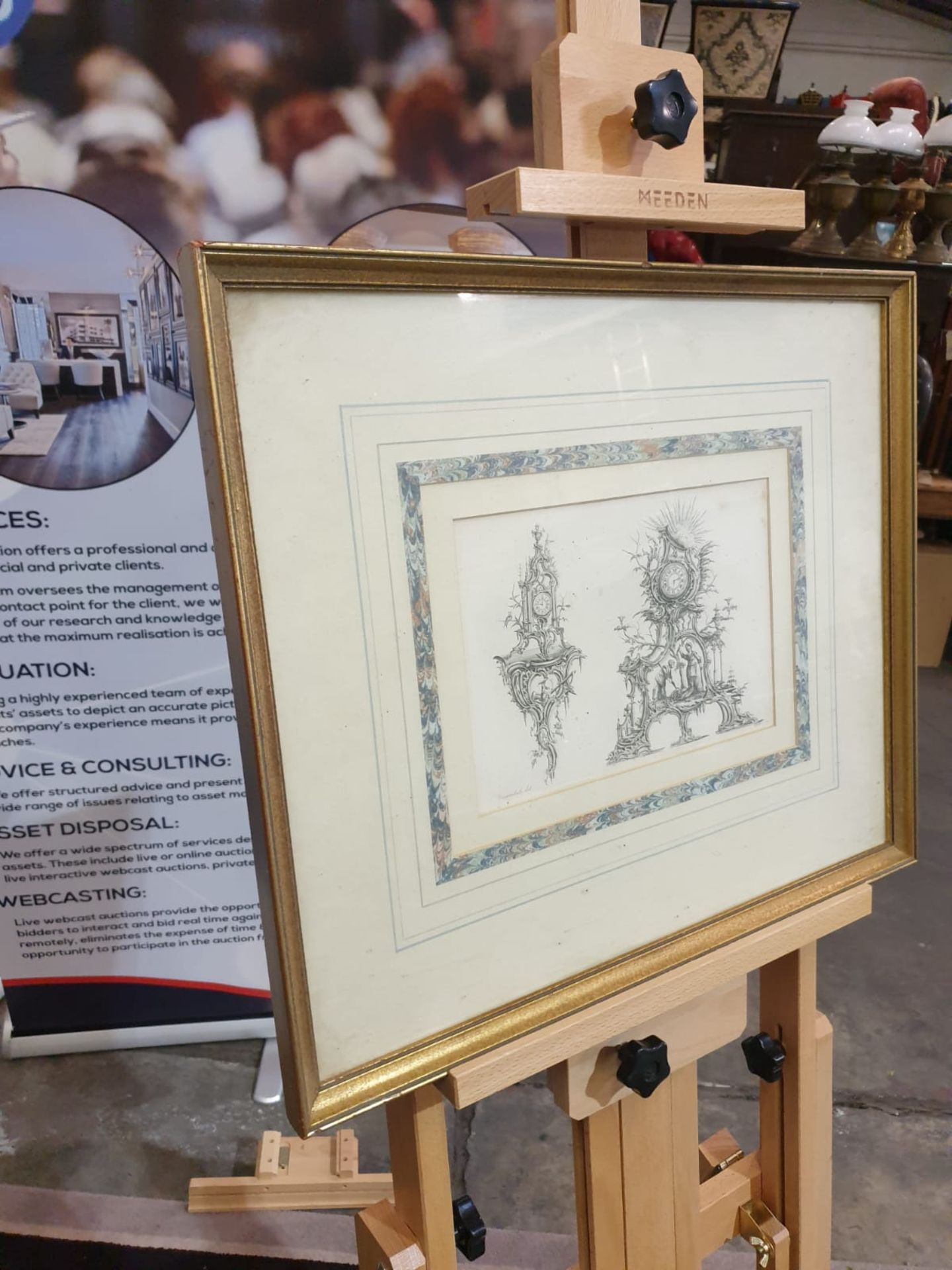 Framed Print Clock Cases, in Chippendale Drawings 54 x 46cm - Image 3 of 3