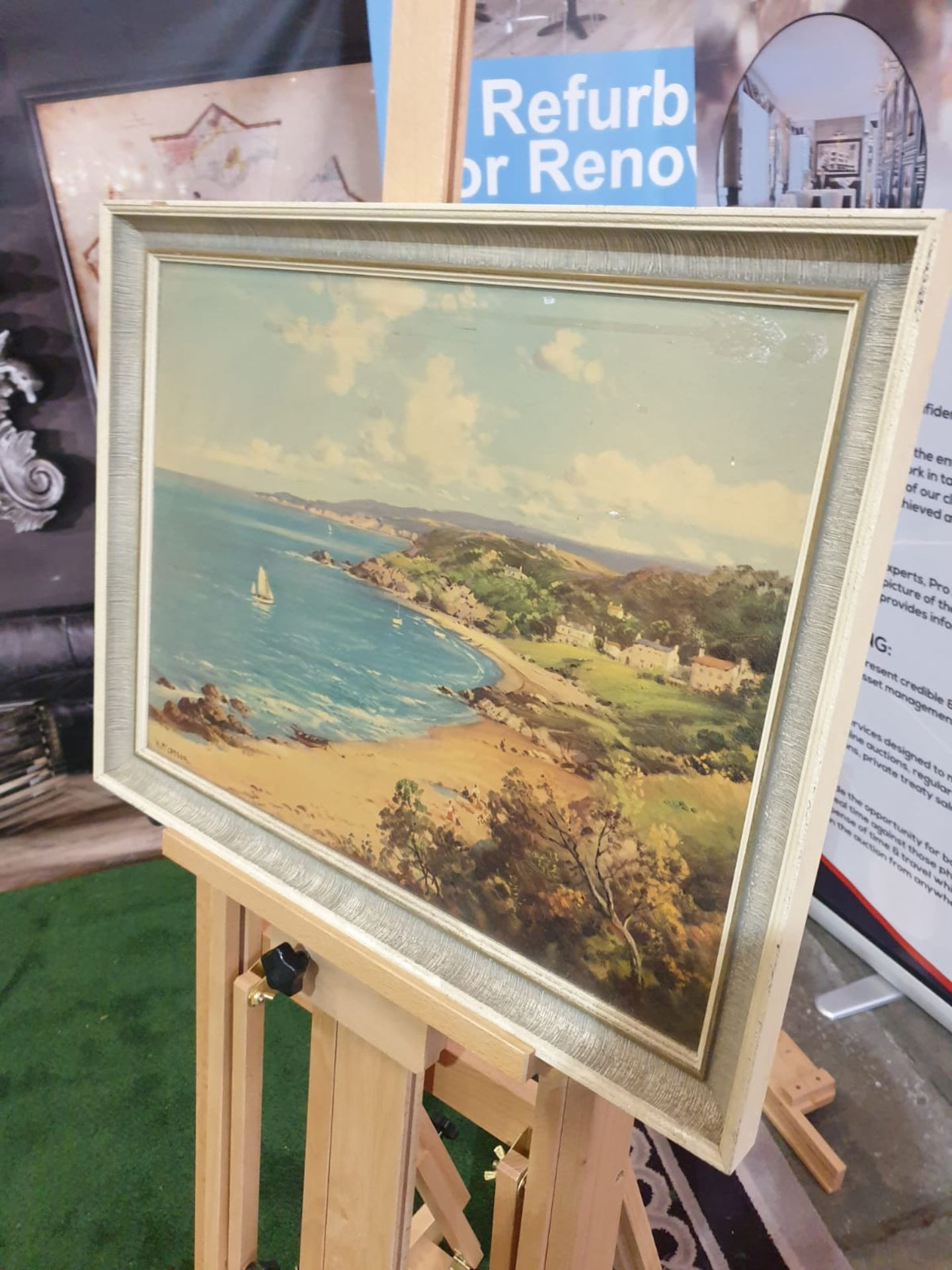 Framed signed painting Sailing ships, sandy beach William McGregor was a Scottish artist in the late