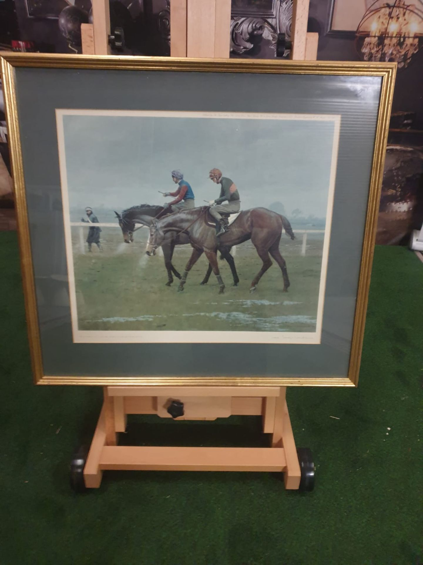 """Framed print """"Winter Woolies"""" after Leesa Sandys-Lumsdaine in pencil with signature and title at"""