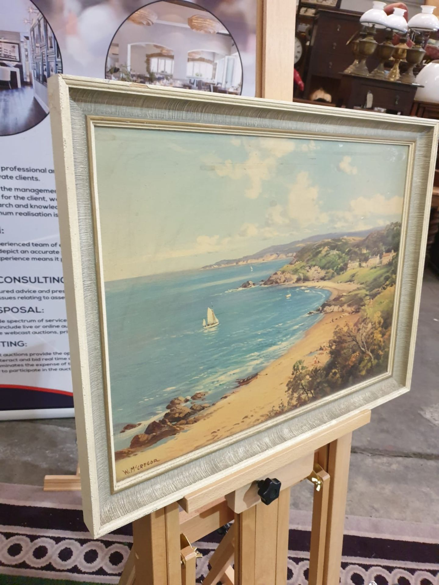 Framed signed painting Sailing ships, sandy beach William McGregor was a Scottish artist in the late - Image 3 of 5