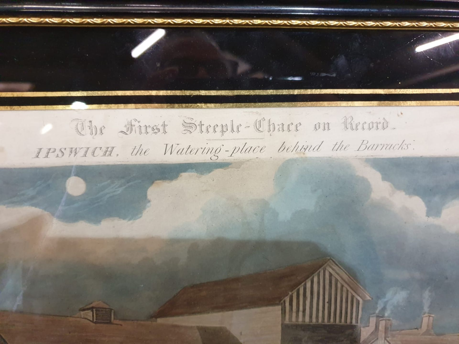 Framed vintage print .The First Steeplechase on Record - Ipswich, the watering place behind the - Image 4 of 6
