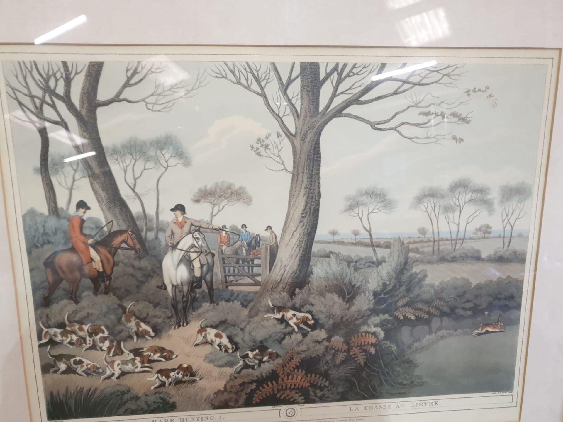Framed Coloured print Hare Hunting 1 La Chasse au Lievre After William Samuel Howitt (1756 – - Image 6 of 6