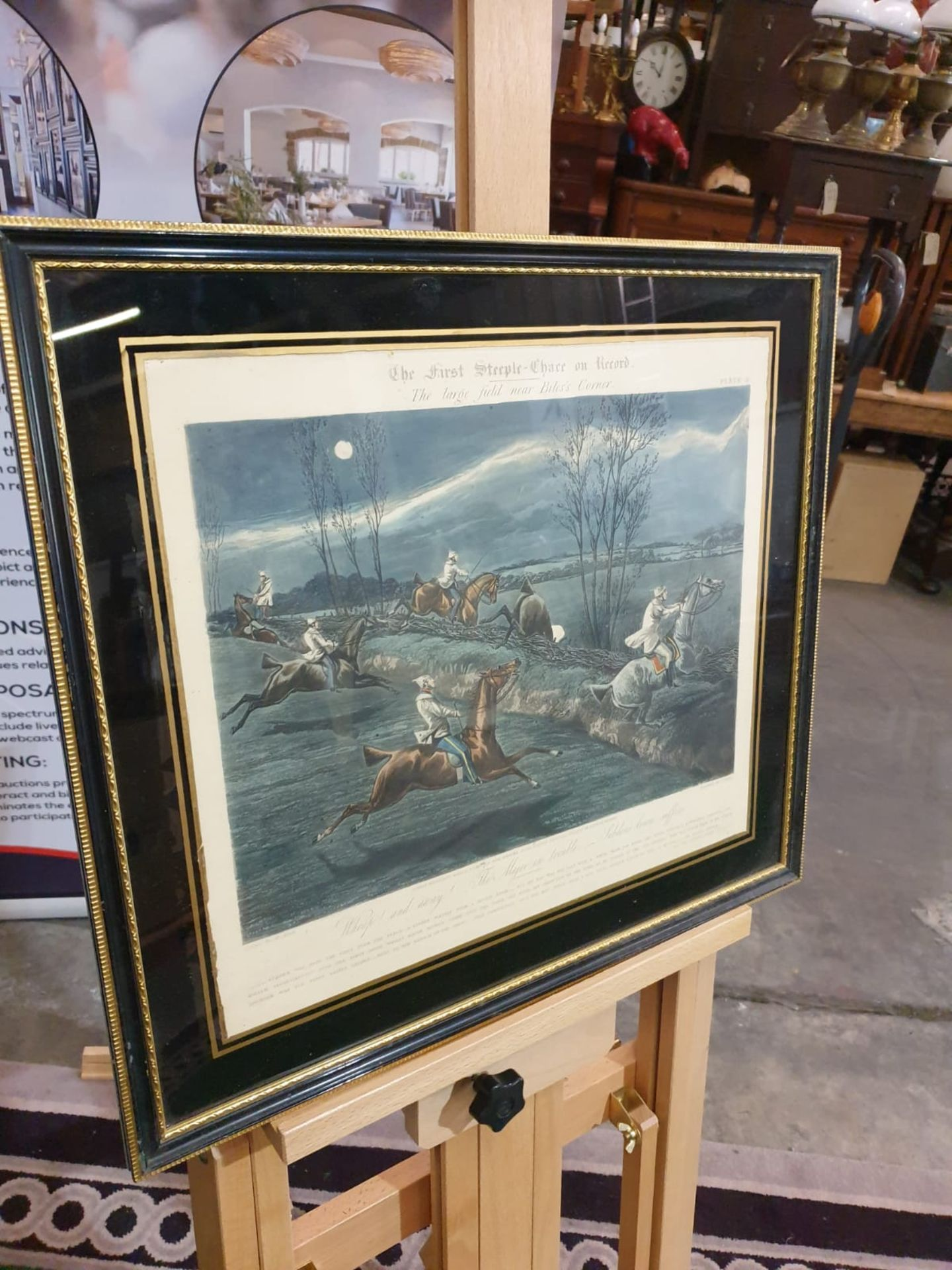 Framed vintage print The First Steeplechase on Record - The large field near Biles's corner (after - Image 3 of 5