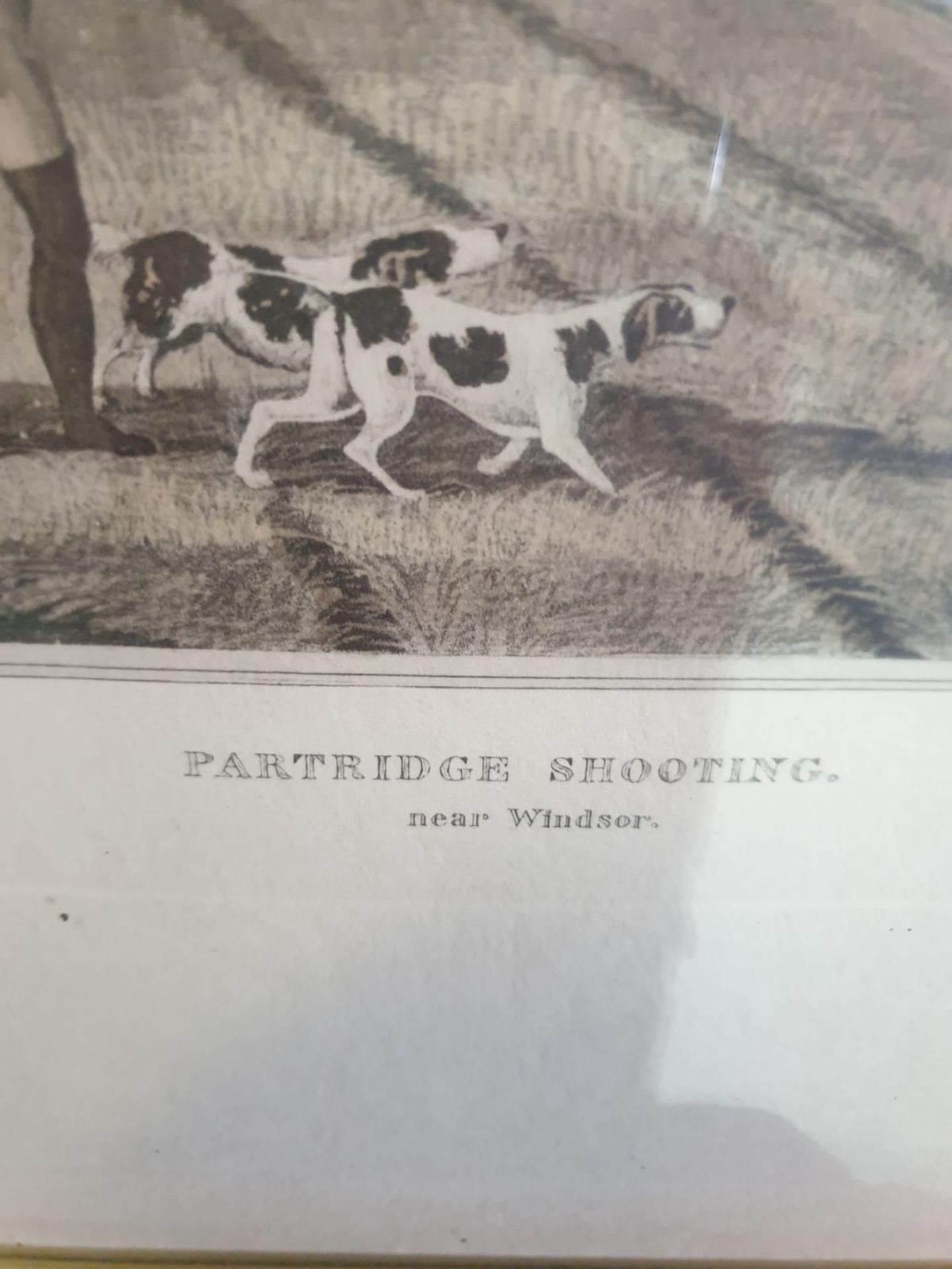 Framed vintage aquatint Partridge shooting near Windsor. HAVELL Jr., Robert. Publisher: J Brooker - Image 4 of 5