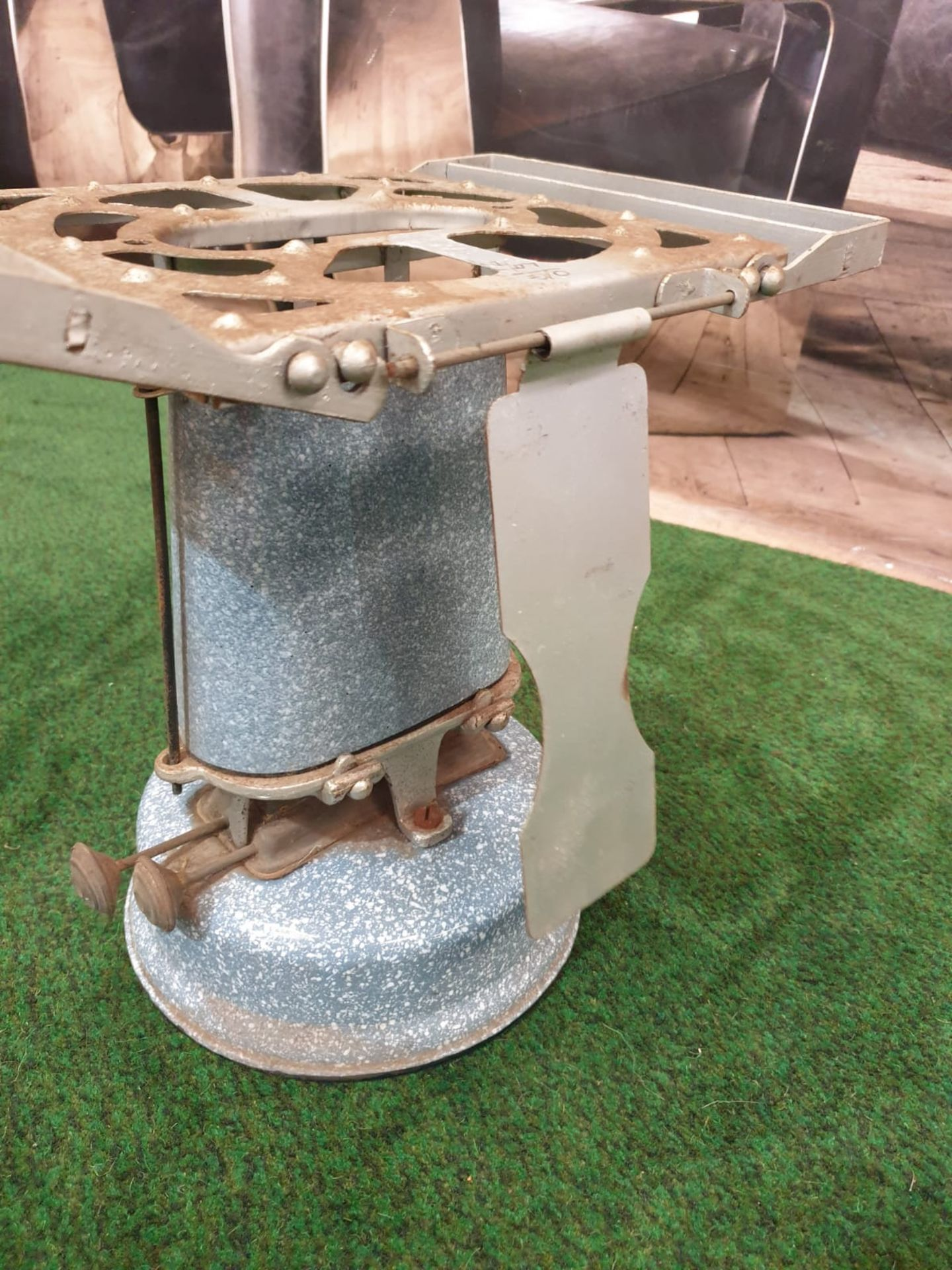 A Beatrice No.55 oil travel stove enamel cooker, paraffin driven, with circular tank at base, and - Image 4 of 4