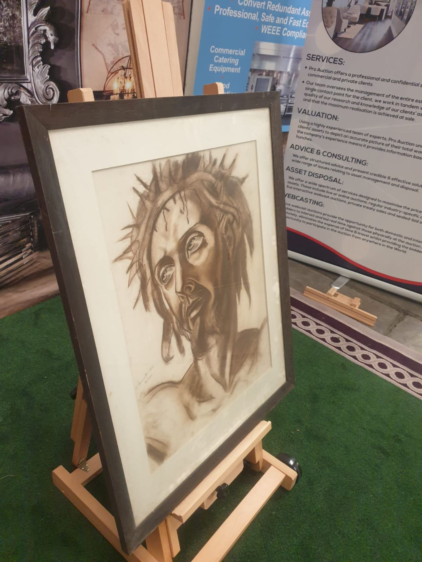 Drawing wash attributed to Michail Semiovitch Rodionoff 1885-1956 Christ with crown of thorns c. - Image 4 of 5