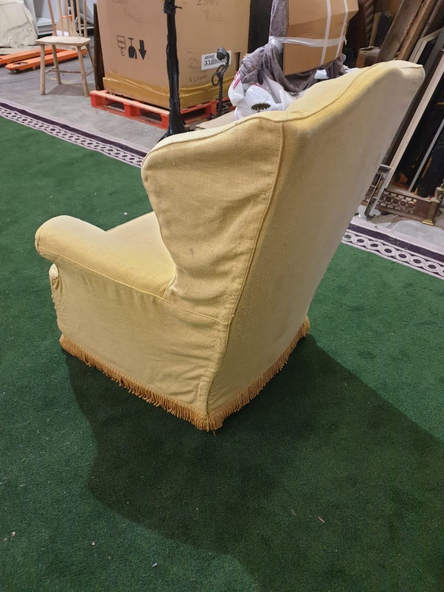 A 1940s style upholstered wing back armchair An elegant and unusual wing chair with curvaceous - Image 3 of 3