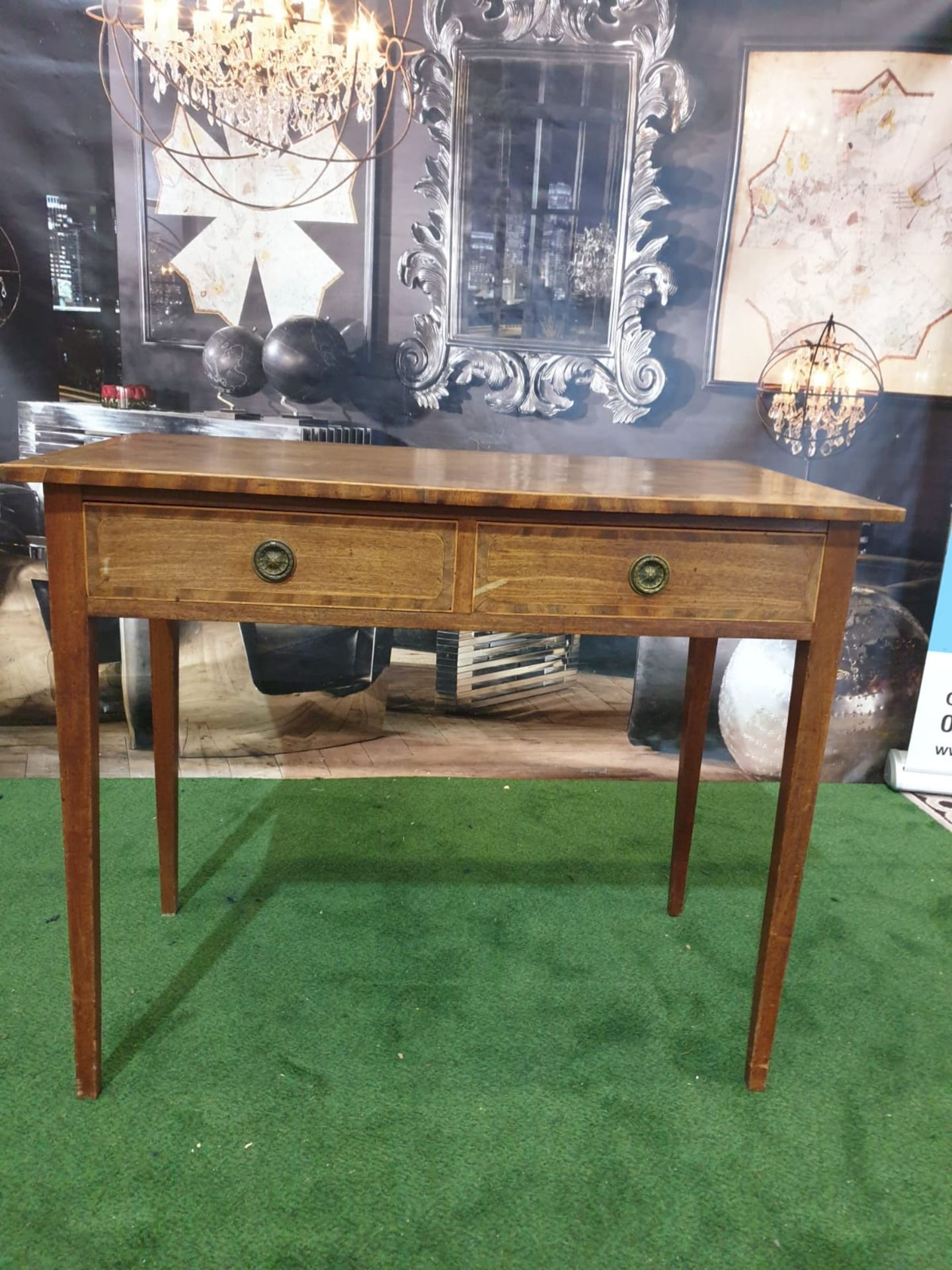 A George III mahogany side table. Strung with boxwood and crossbanded, the oblong top above a pair - Image 2 of 4