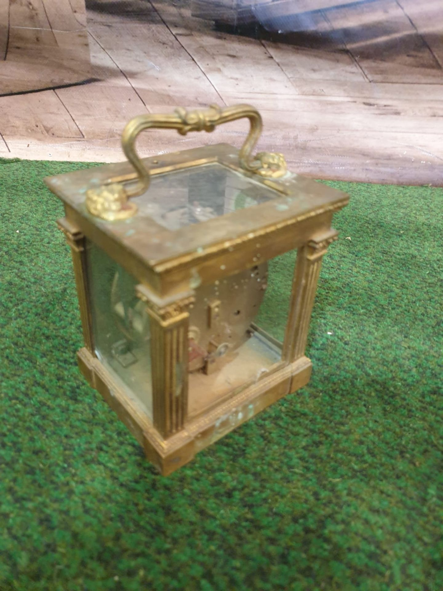 Lepine Mantle Clock Dore bronze and glass, two train (missing the strike train), single spring - Image 3 of 4