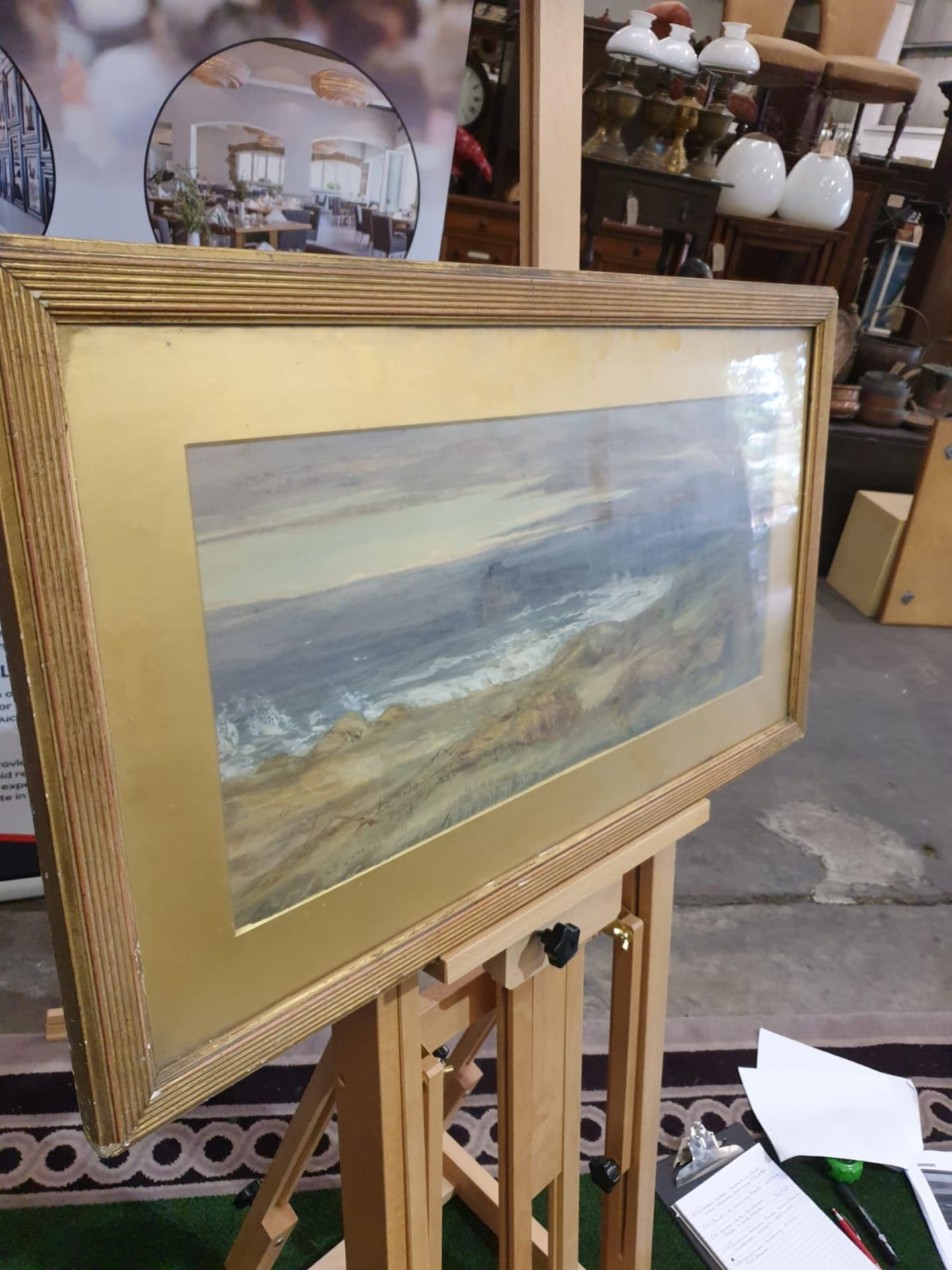 Gilt framed watercolour painting of a cornfield by the sea, not attributed. c. Circa 1880 This is - Image 2 of 3