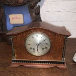 Mahogany, Oak, brass, glass, and blued steel, Art deco era, two train spring driven,eight day time