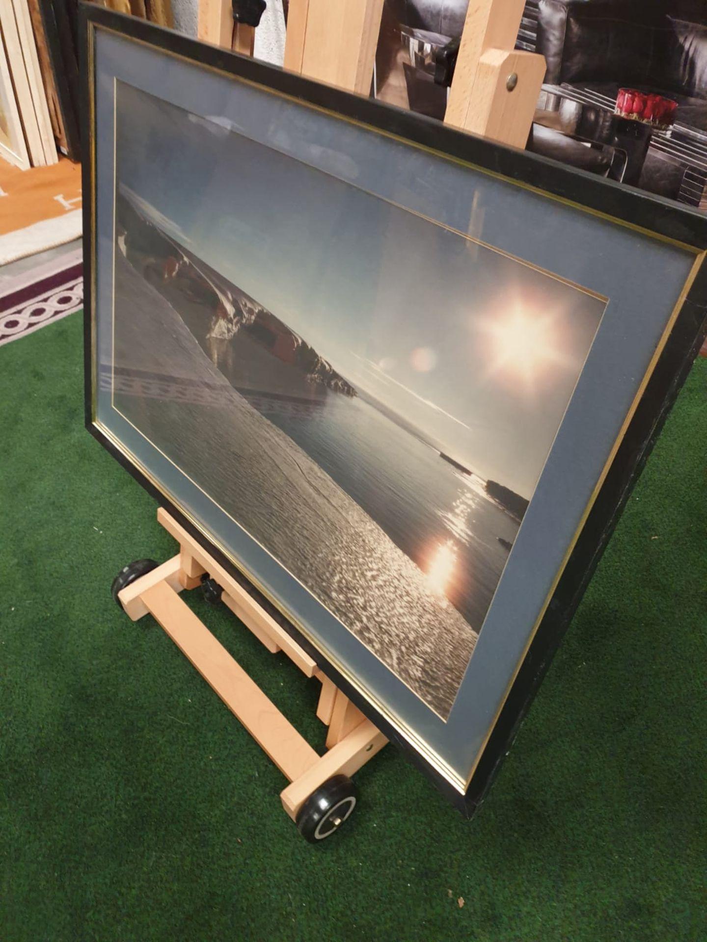 A large framed Seascape - Glaciers modern black frame 90 x 65 - Image 2 of 4