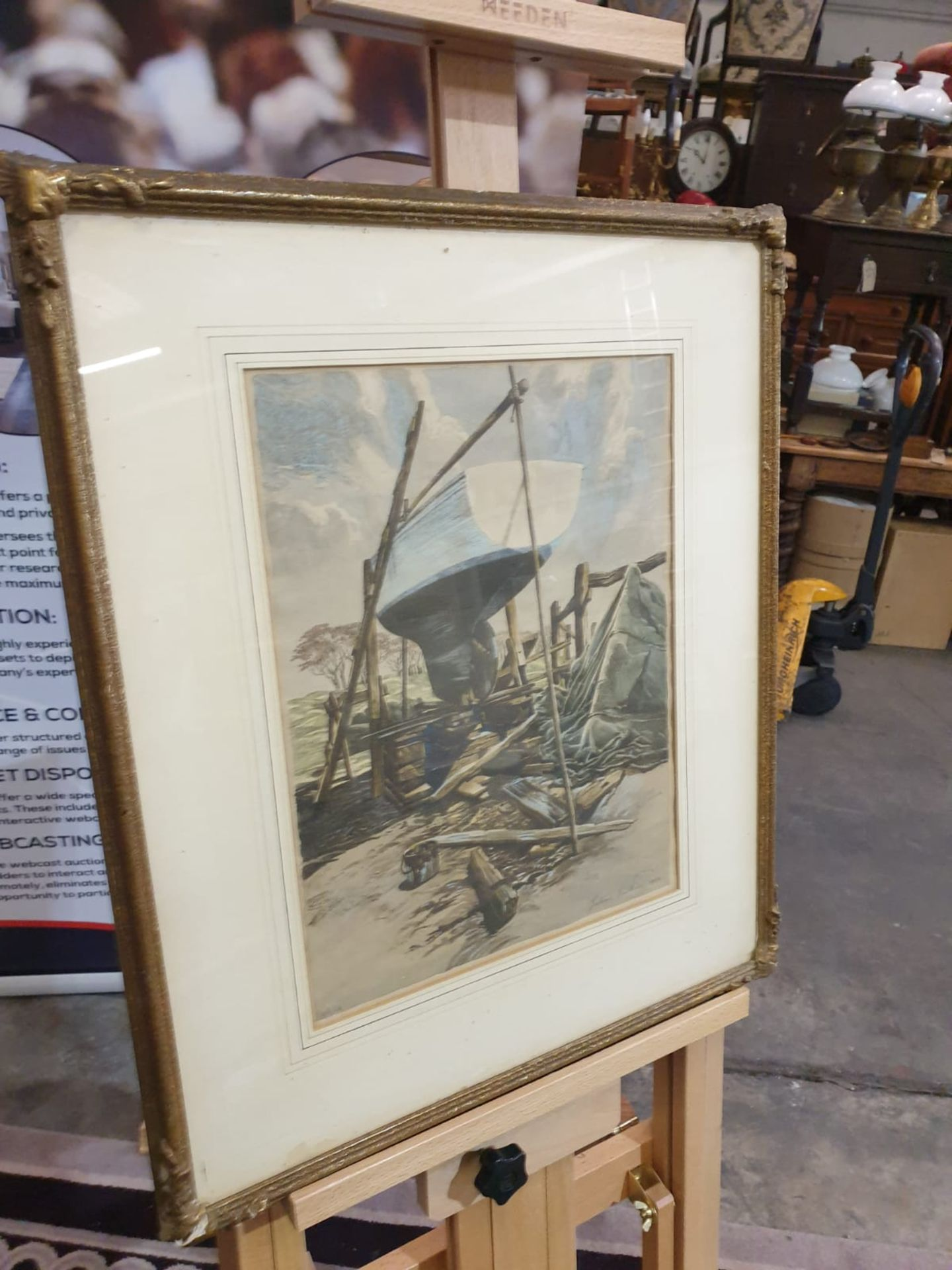 Julian Leathart 20th Century mixed media painting of boat in boatyard c. Circa 1950 This Drawing - Image 2 of 3