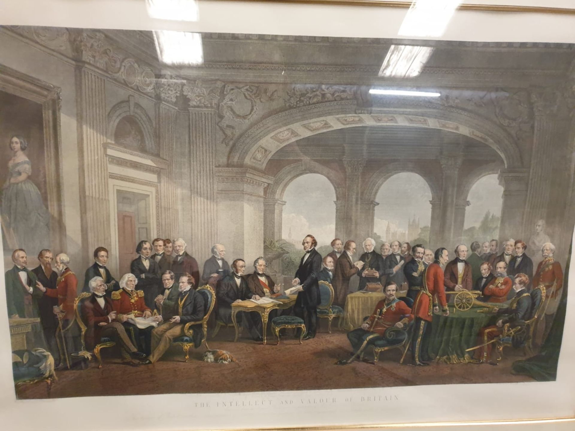 A framed coloured print Intellect and Valour of Britain--engraving of 1864 Thomas Jones Barker, - Image 2 of 5