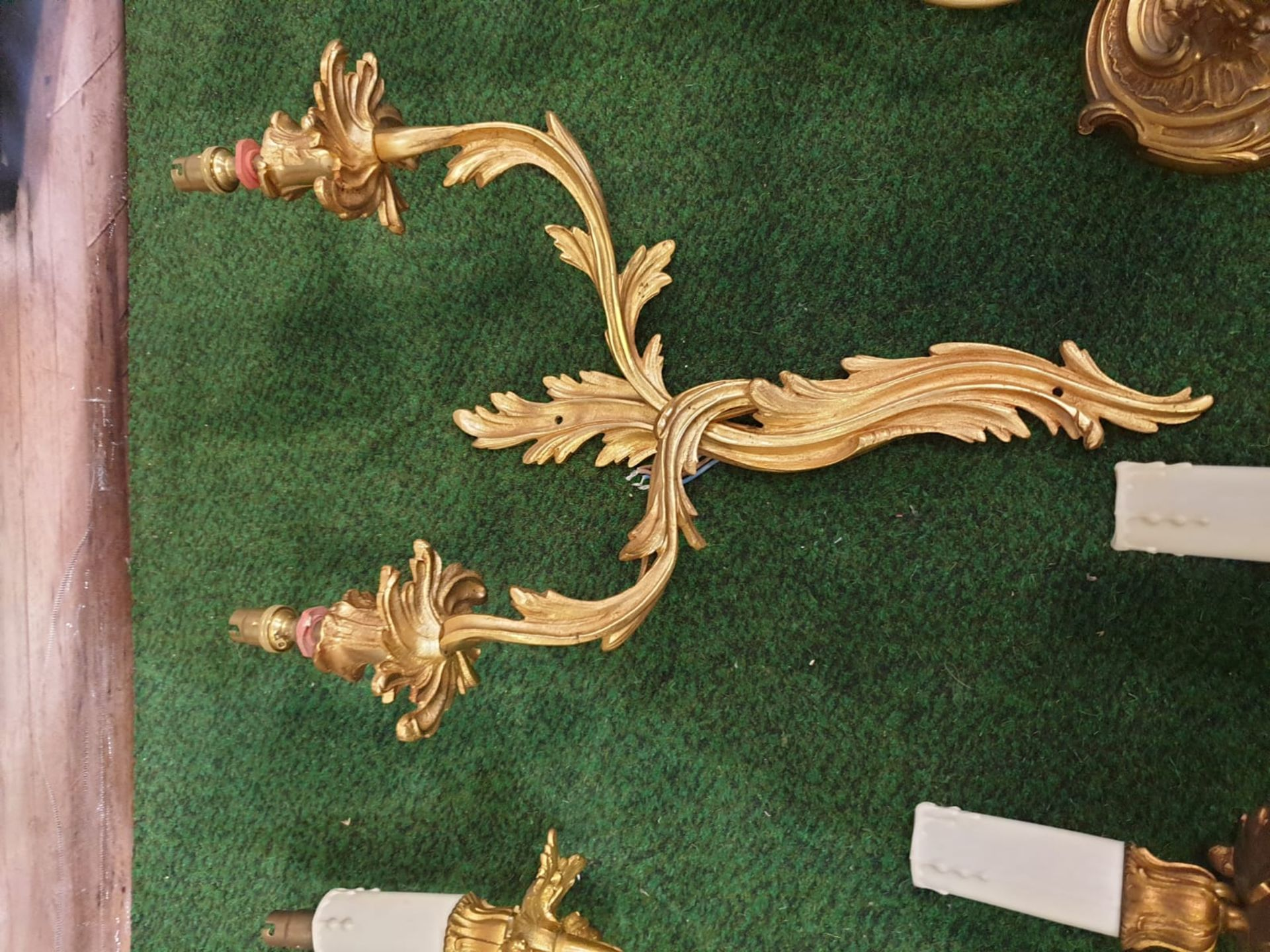 A set of 4 x French Dore Bronze triple arm branch Candelabra wall sconces in the Louis XV Style - Image 5 of 7