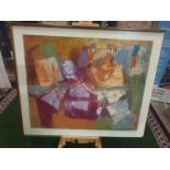 Tamsen Louise Croft - Treikcliff 1991 framed Mixed media on paper label verso reads purchased