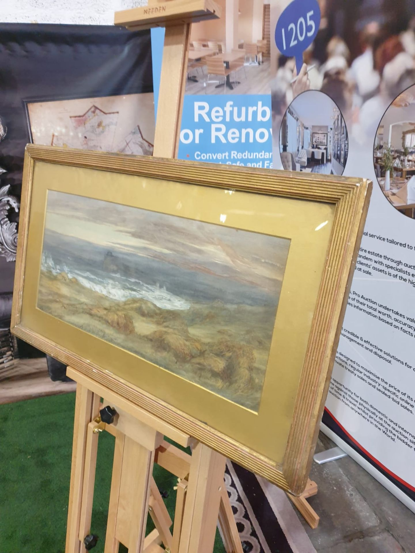 Gilt framed watercolour painting of a cornfield by the sea, not attributed. c. Circa 1880 This is