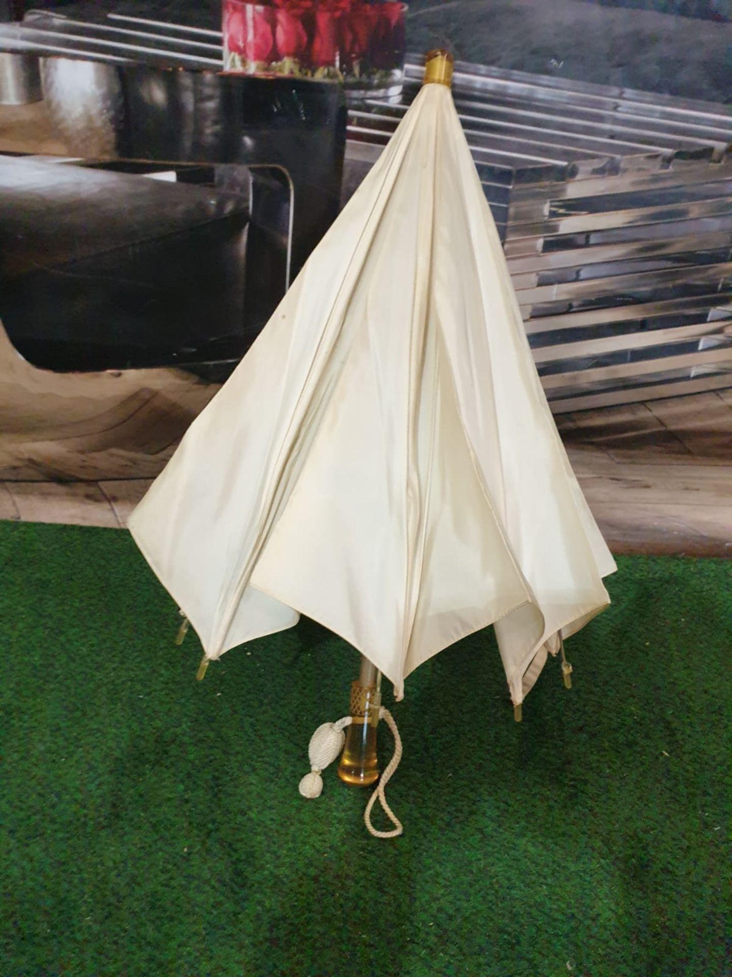 Ladies parasol Cream silk-like material - Yellow handle. Needs T.L.C.