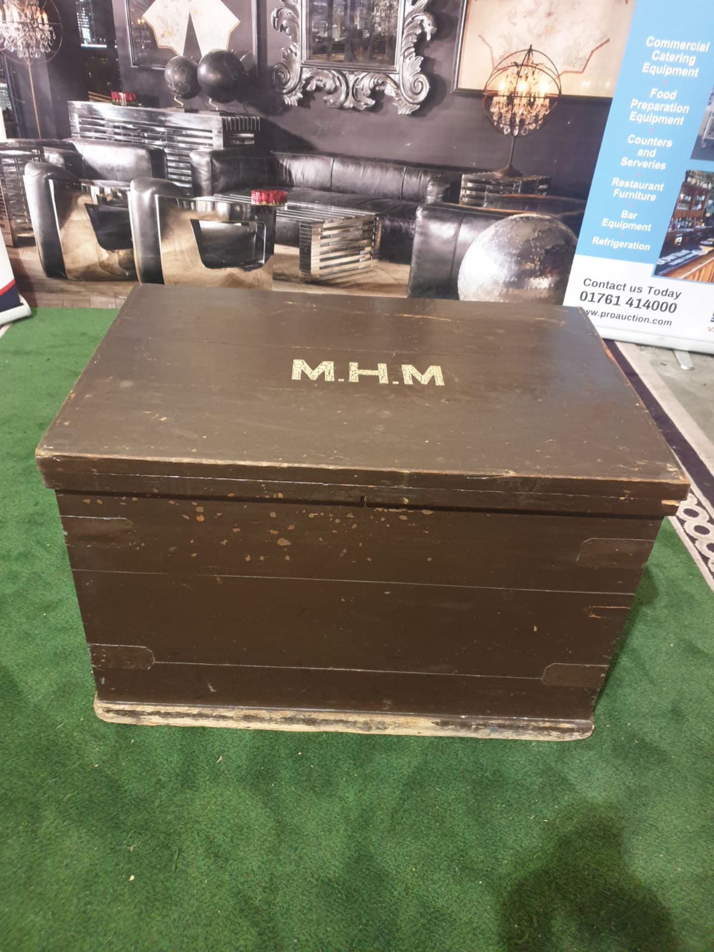 A late Victorian painted pine travel chest. The hinged cover with hasp and ownership title 'M.