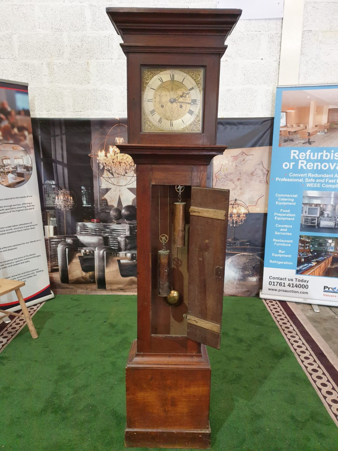 Provincial, mahogany or mahoganized oak, two weight, eight day time and hourly striking longcase - Image 2 of 8
