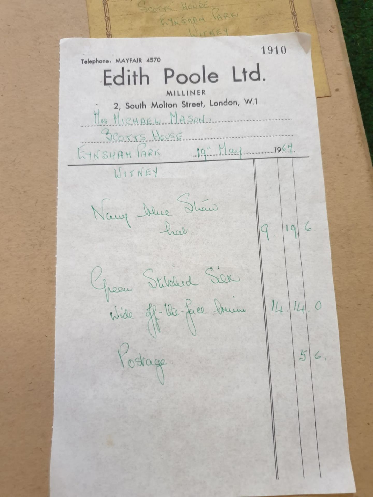 2 x Edith Poole from South Molton Street London Vintage Ladies Hats 1 x Navy Blue straw hat and 1 - Image 7 of 7