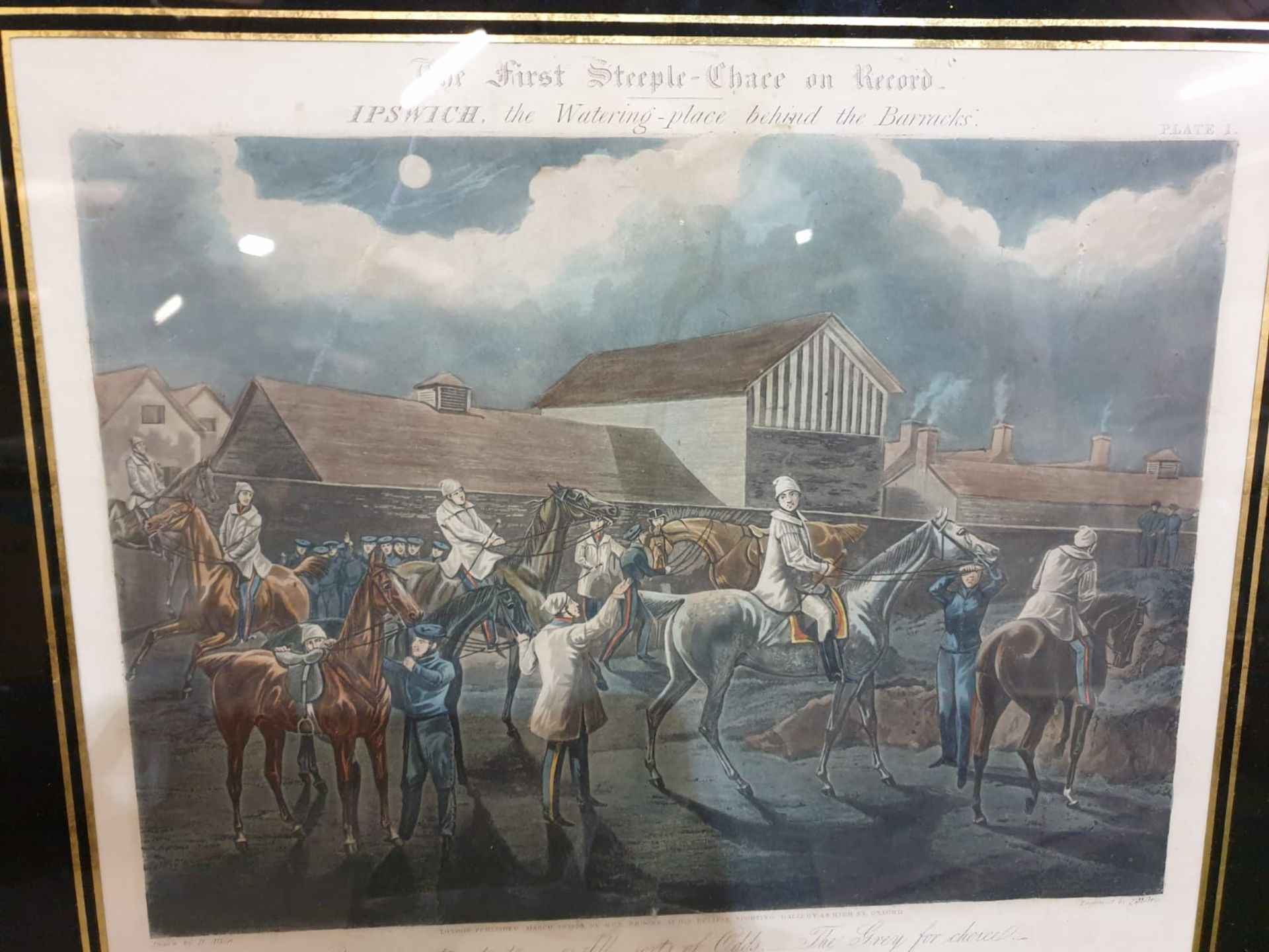 Framed vintage print .The First Steeplechase on Record - Ipswich, the watering place behind the - Image 6 of 6