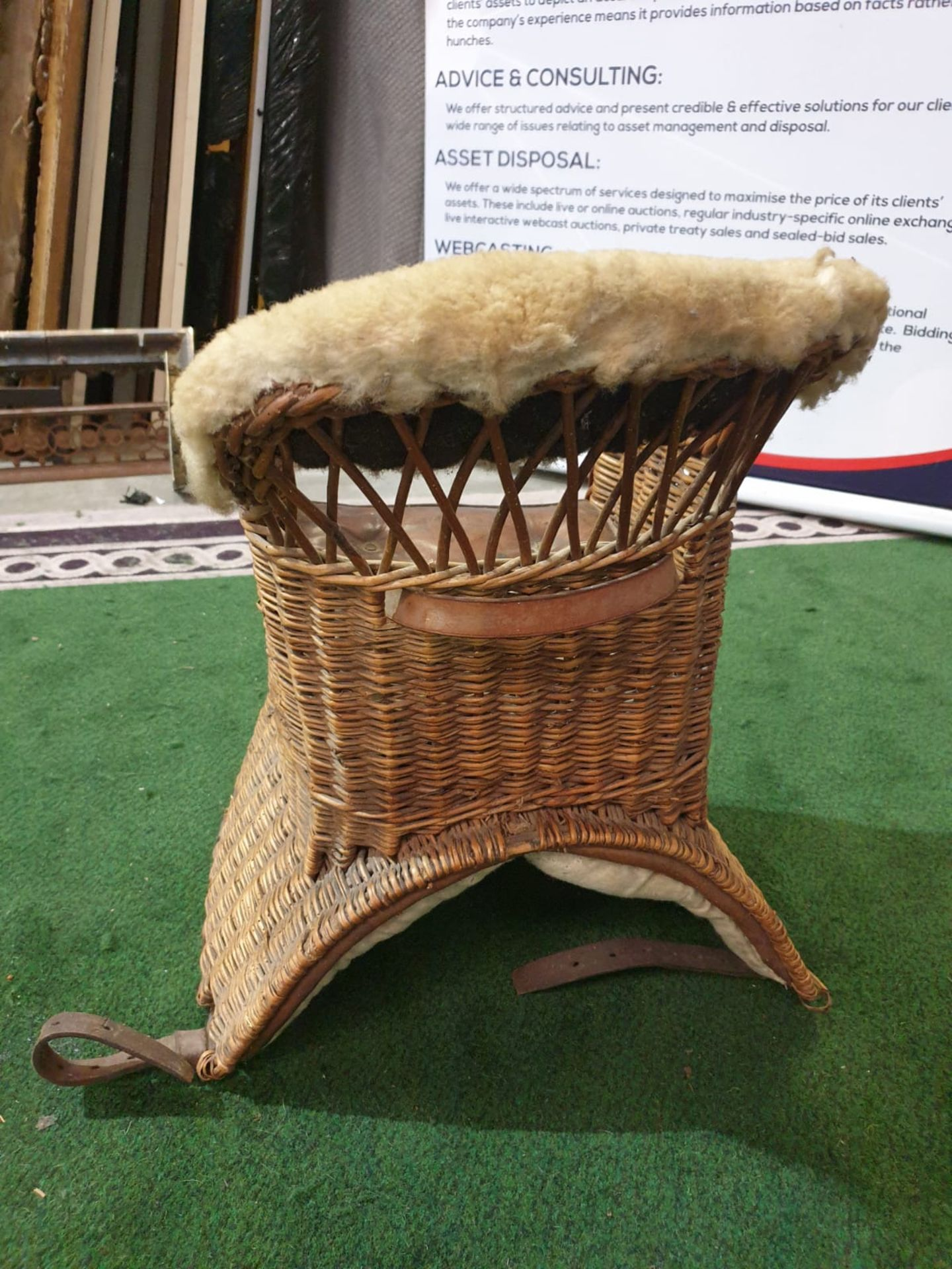 A wicker childs horse saddle formed as an armchair with straps and stirrups. c. Circa 1910 Height 60 - Image 6 of 7
