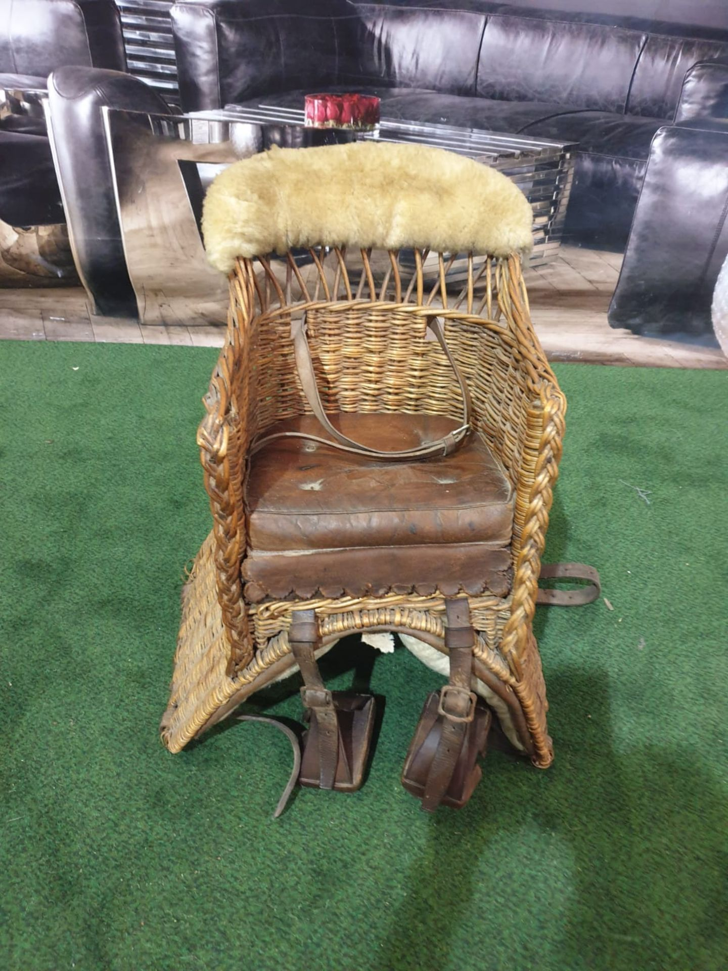 A wicker childs horse saddle formed as an armchair with straps and stirrups. c. Circa 1910 Height 60 - Image 2 of 7