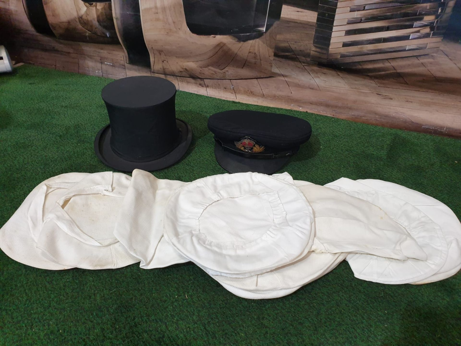 A Lock & Co London Naval peak cap and a Hunters Top hat by Harman & Son Hatters, 87 New Bond - Image 4 of 4