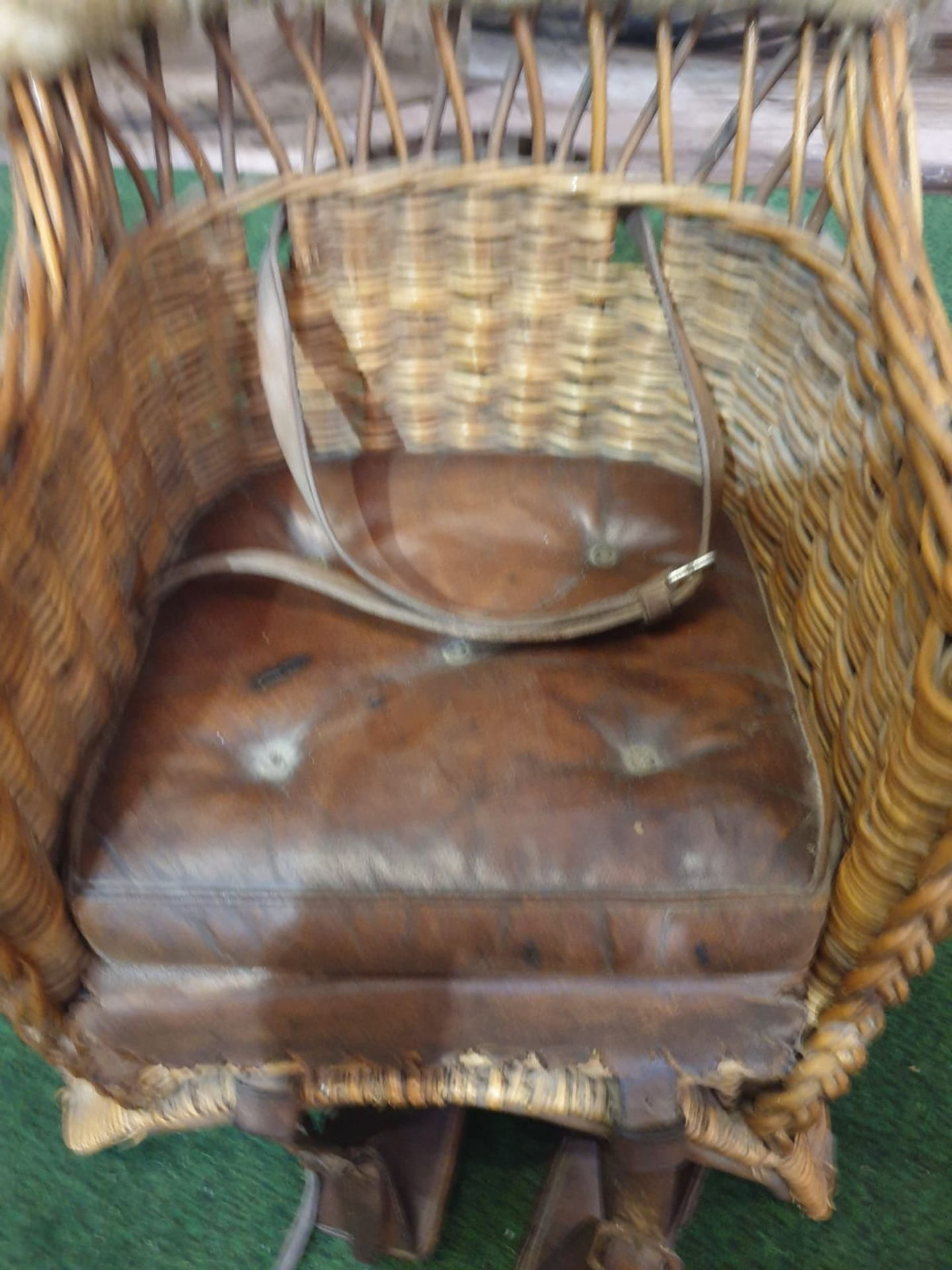 A wicker childs horse saddle formed as an armchair with straps and stirrups. c. Circa 1910 Height 60 - Image 5 of 7