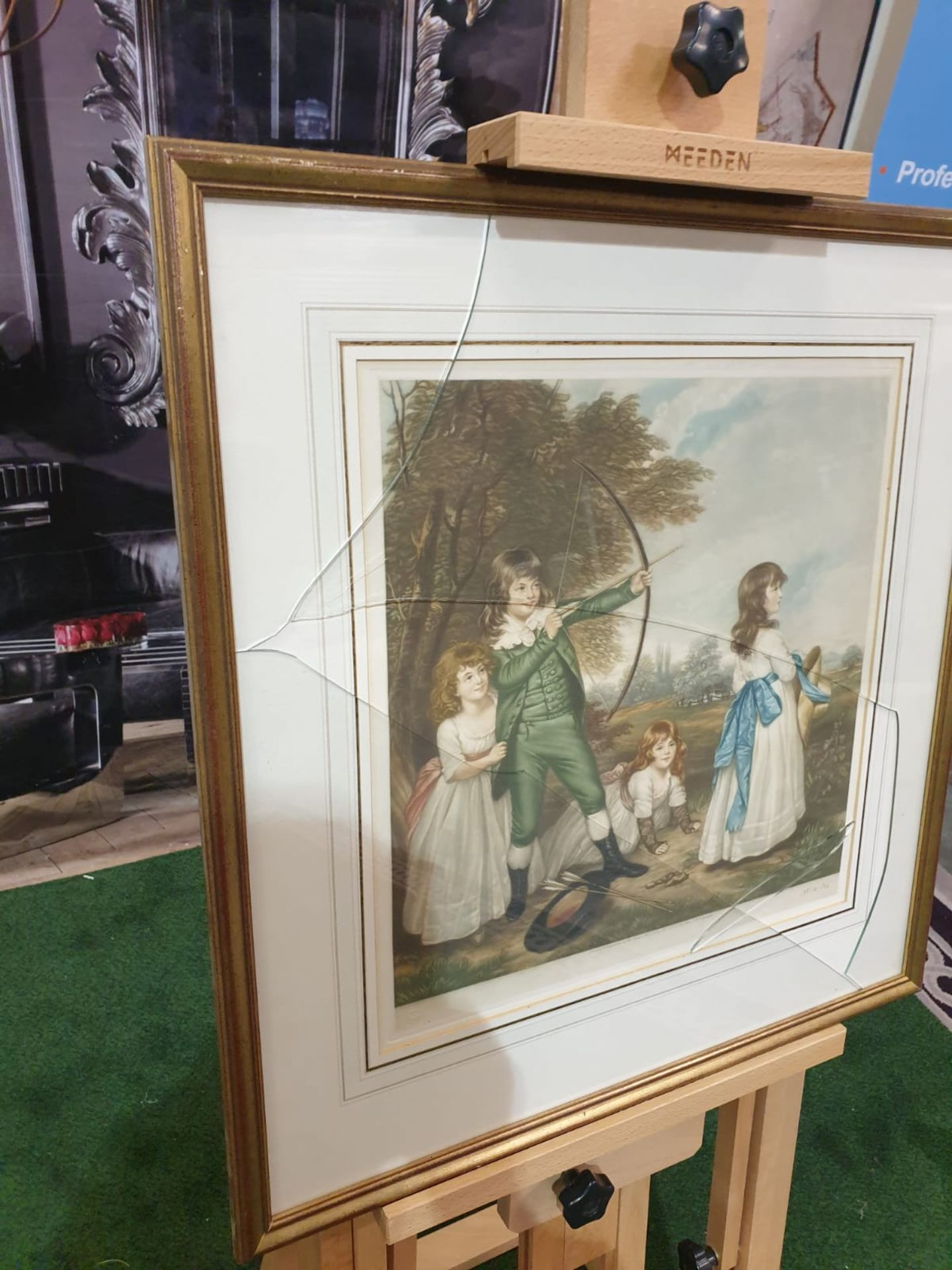 Framed coloured print of 4 Children playing, 1 child doing archery, hat and arrows on ground in - Image 3 of 5